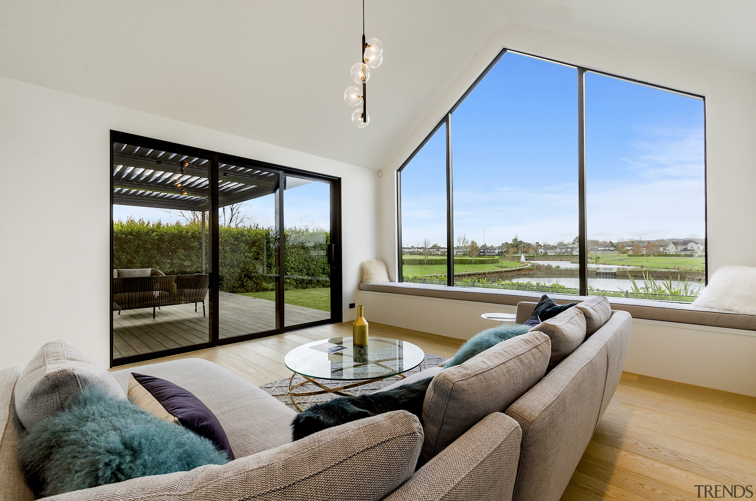 The main living area connects with the scenic gray