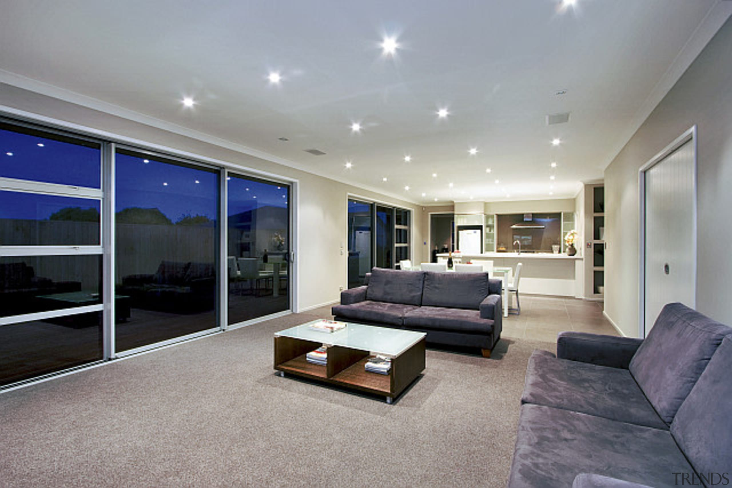 Open plan living area that flows seamlessly to ceiling, daylighting, estate, floor, interior design, living room, property, real estate, window, gray