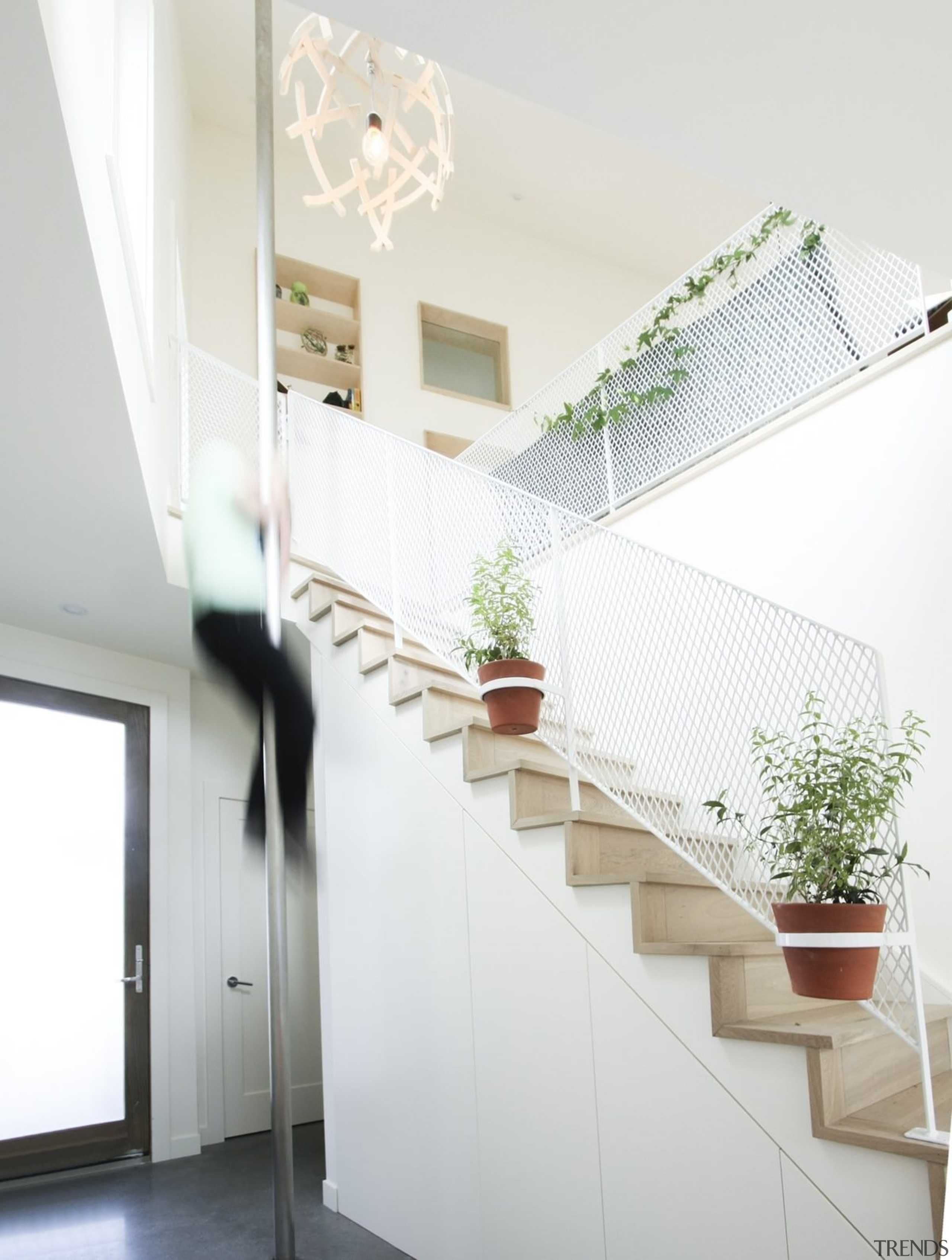 The white mesh is certainly different - The architecture, daylighting, glass, handrail, home, house, interior design, product design, stairs, window, white