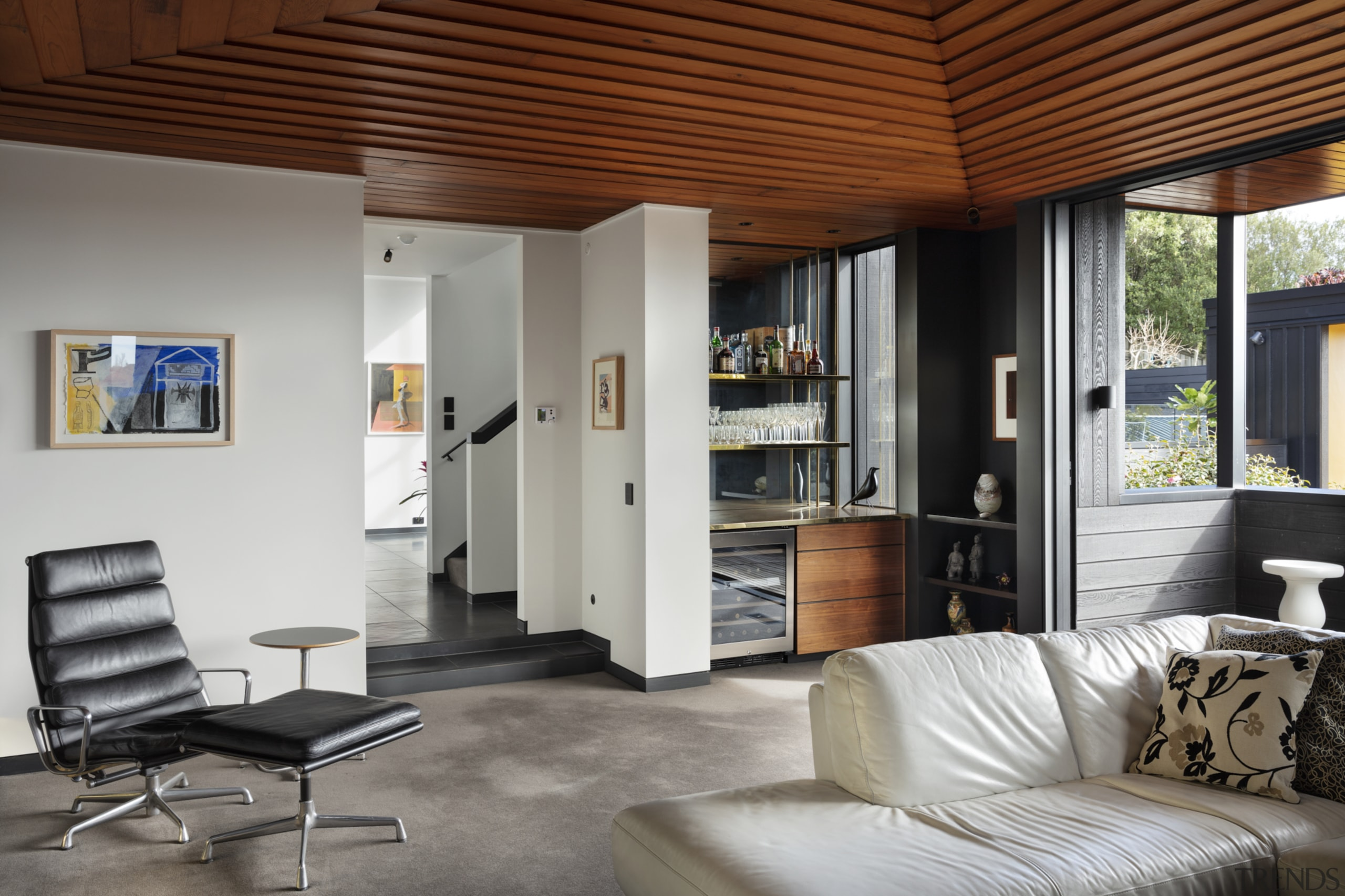 1970's home becomes a modern entertainer's dream - architecture, building, ceiling, coffee table, floor, flooring, furniture, hardwood, home, house, interior design, living room, loft, property, real estate, room, table, wall, wood, wood flooring, gray