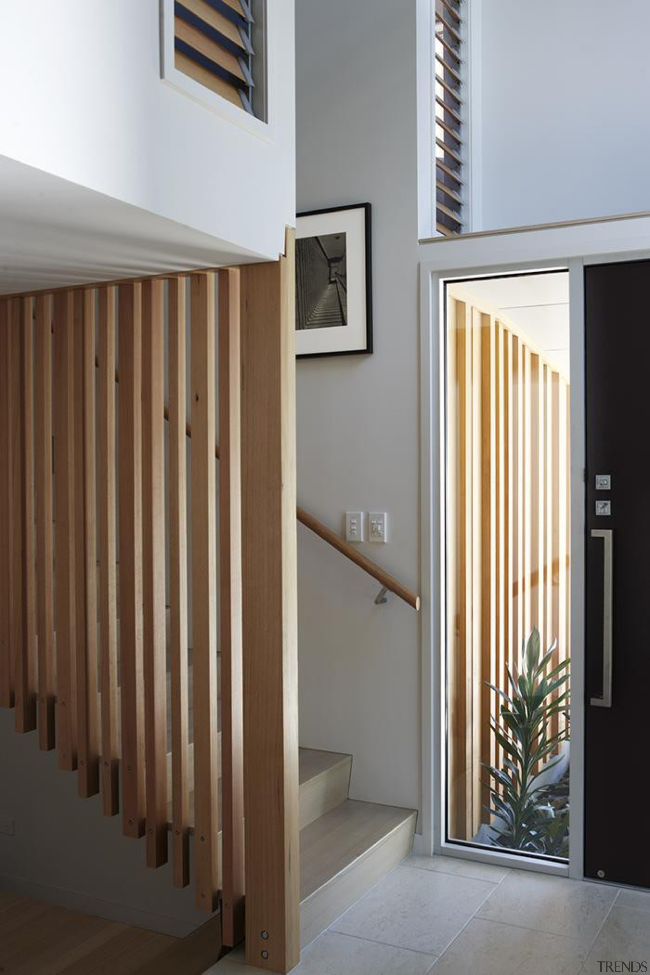 Parnell, Auckland - Nikau House - architecture   architecture, baluster, daylighting, door, floor, handrail, hardwood, home, house, interior design, stairs, wall, gray, brown
