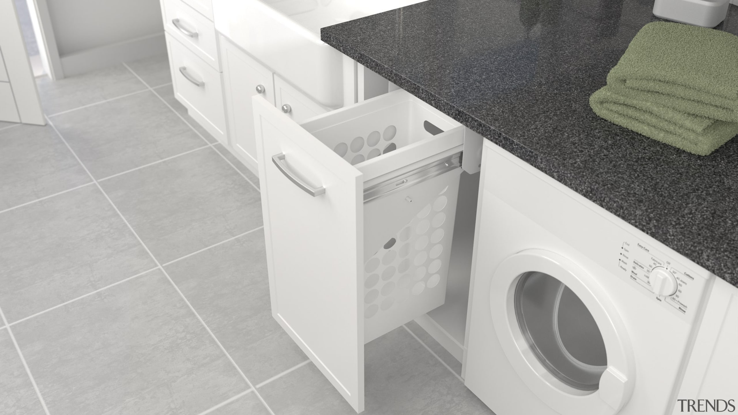 Tanova Simplex laundry pull out with plastic hampers clothes dryer, floor, flooring, home appliance, laundry, laundry room, major appliance, plumbing fixture, product, sink, tile, washing machine, white
