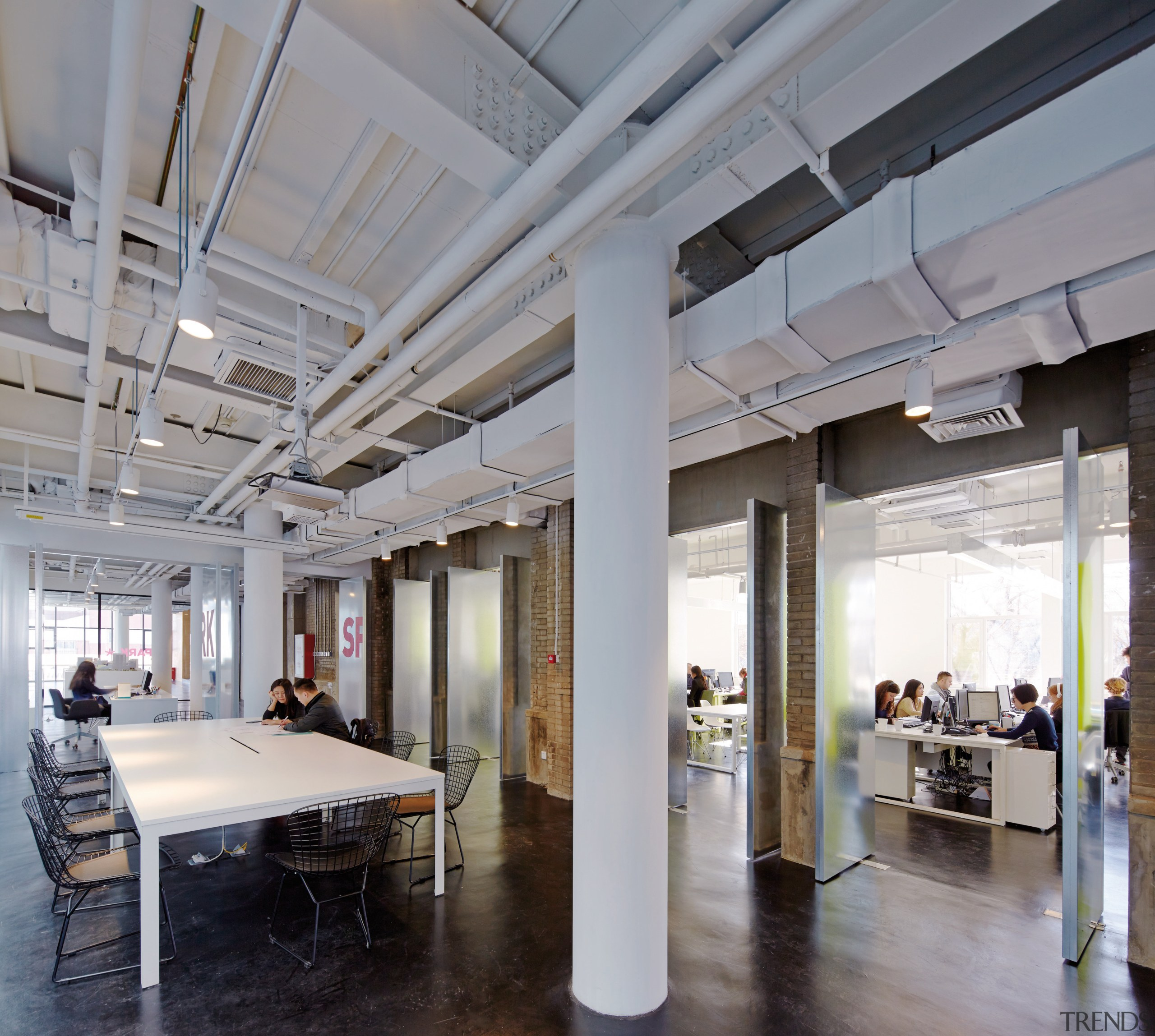Collaboration is easy in the new Spark Architects ceiling, interior design, lobby, loft, gray