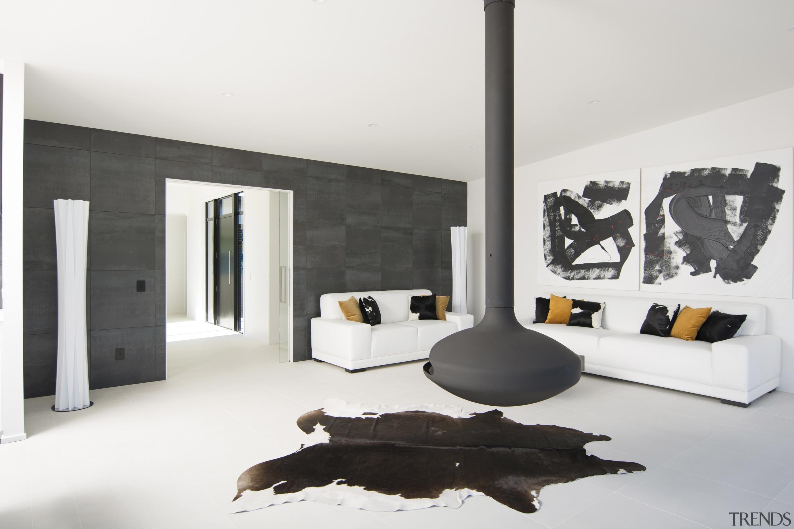 This new H-shaped Nelson showhome by GJ Gardner furniture, interior design, room, white, black, Living Room, GJ Gardner Homes, New Home