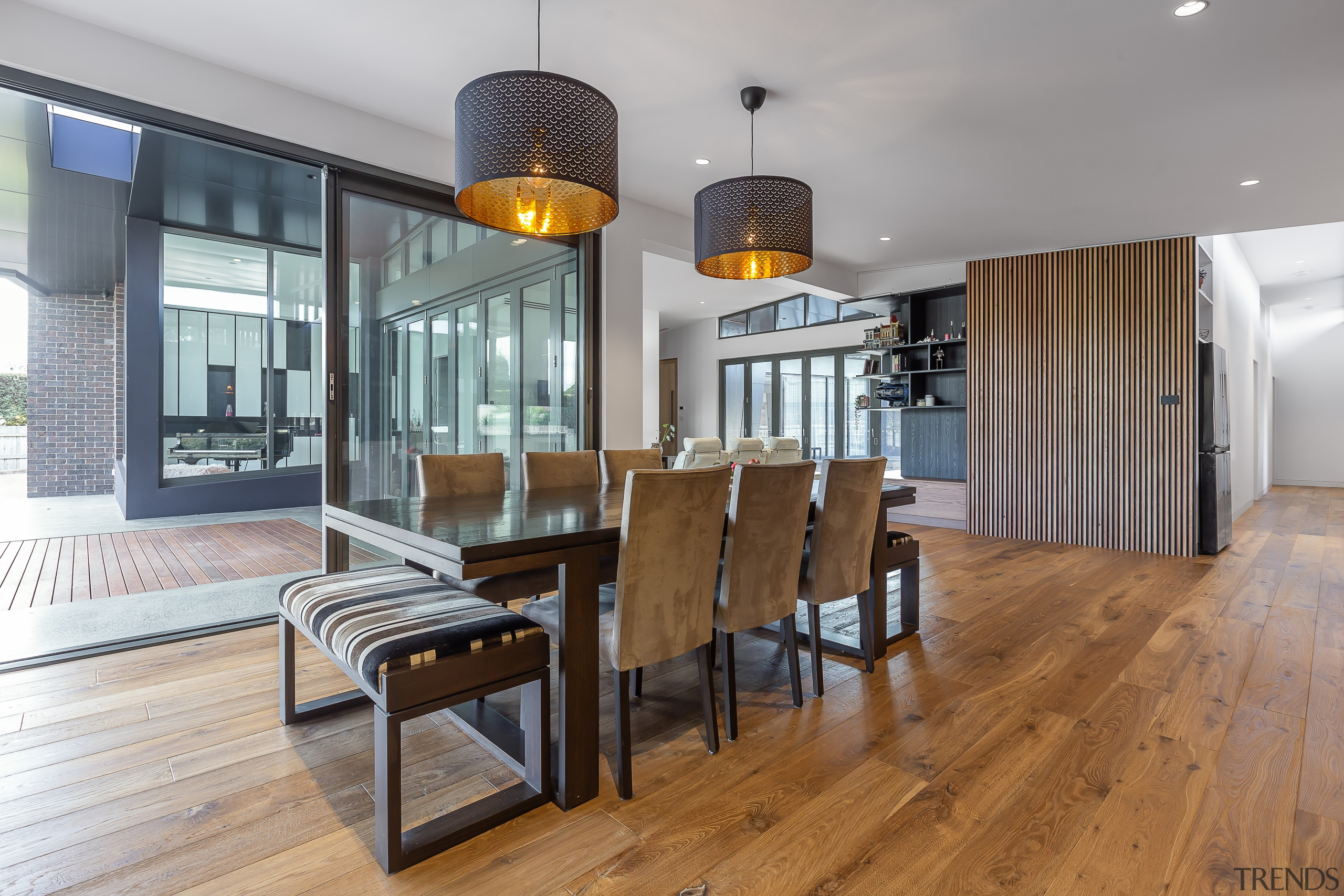 The expanded dining area in this home renovation gray