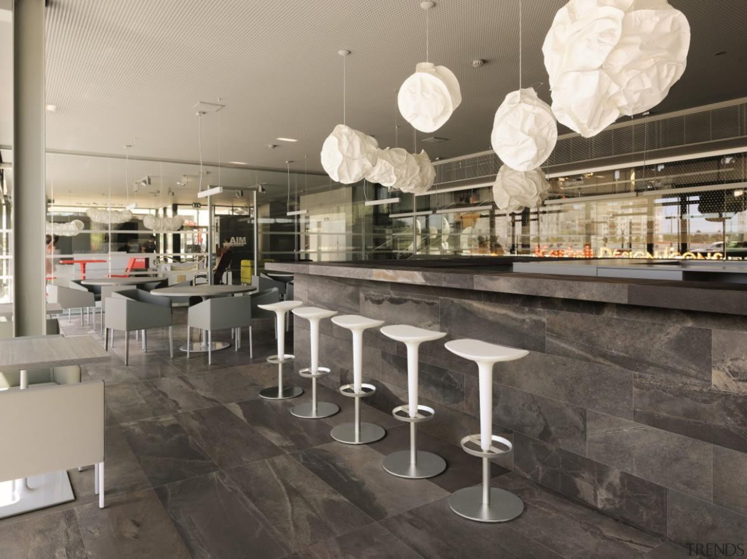 Stunning natural stone large format tiles reproduced in interior design, gray, black