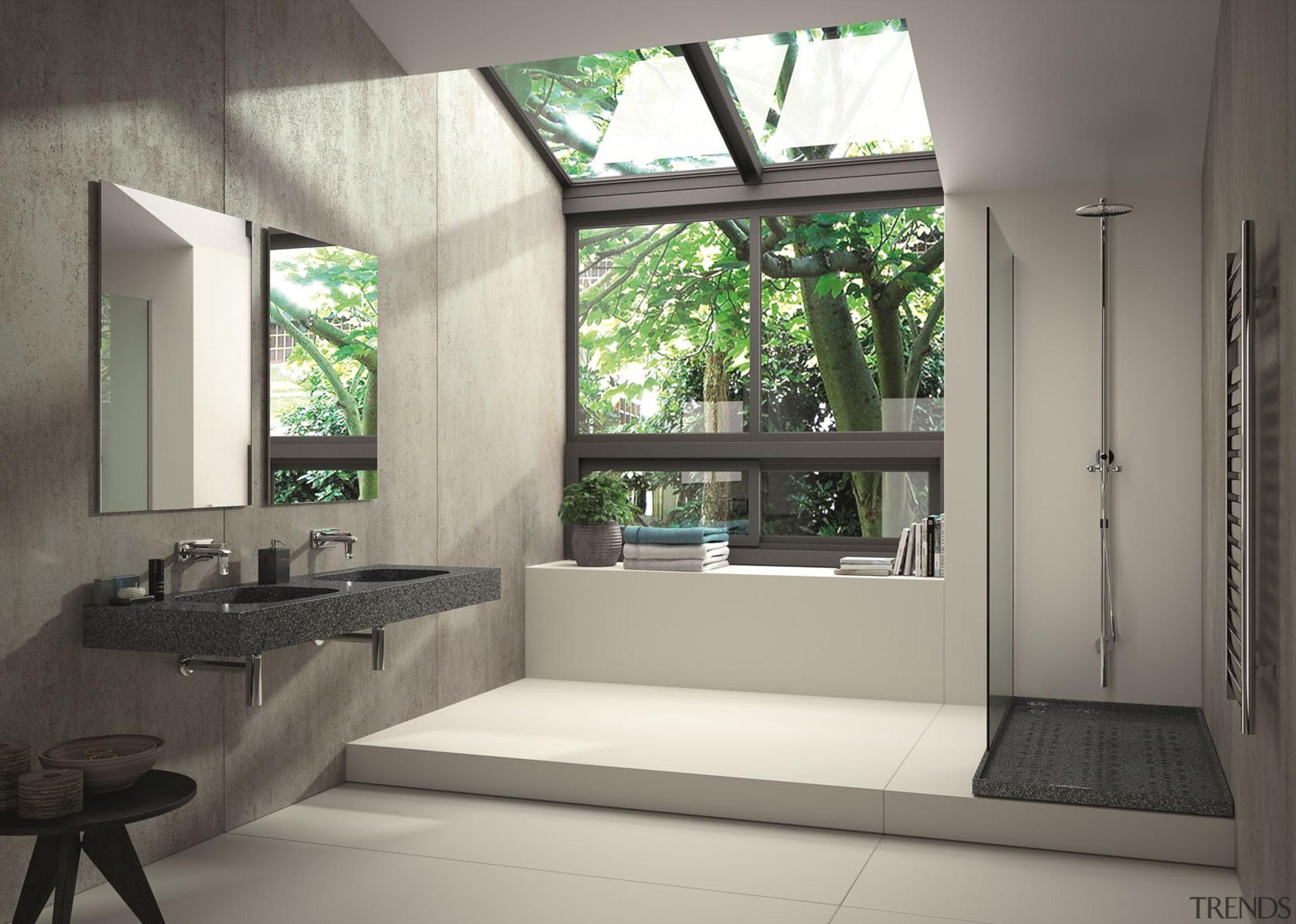 Ambiente baño vivienda - Lavabo Exclusive Silestone color architecture, bathroom, house, interior design, window, gray