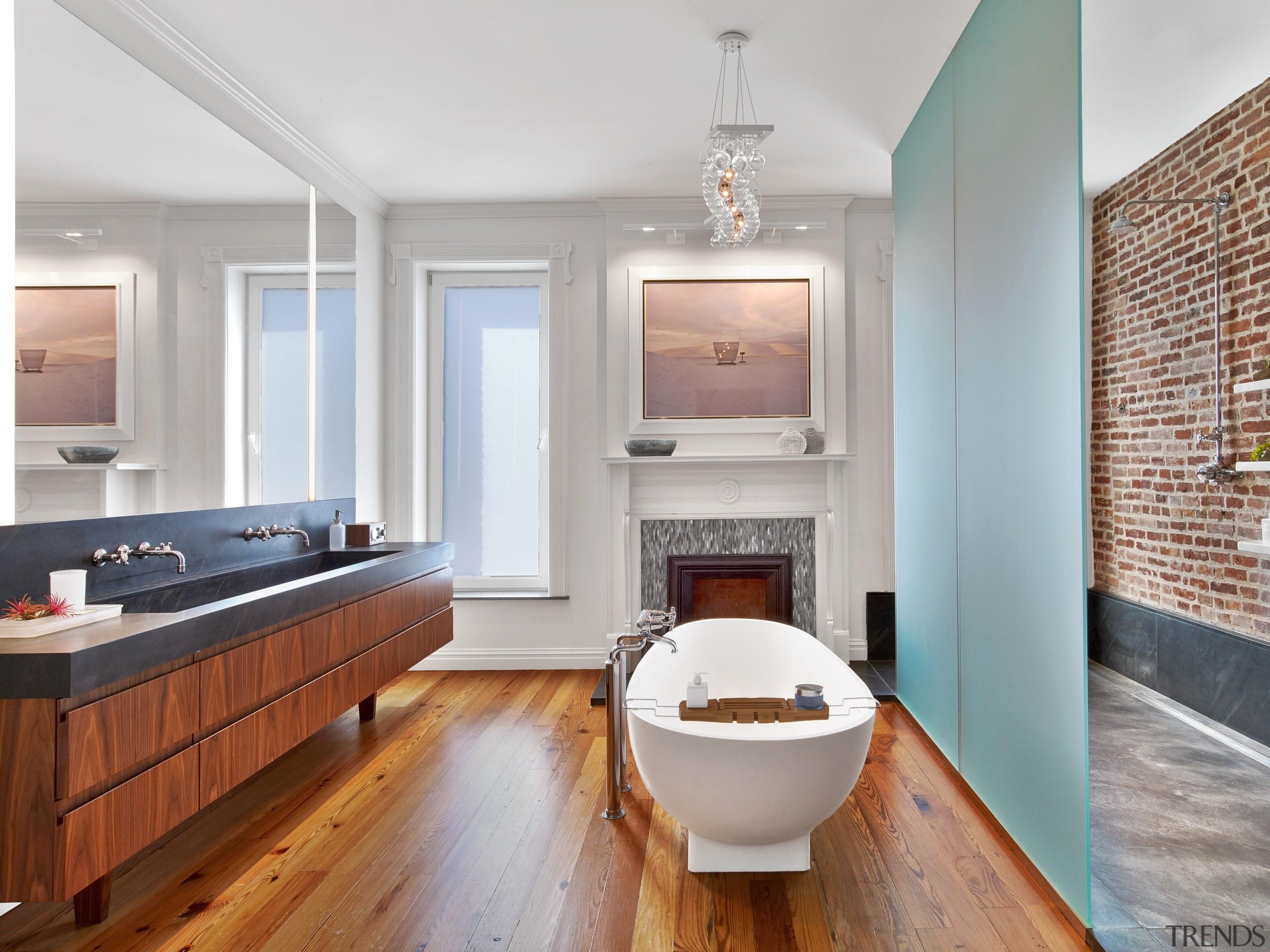 This new master bathroom in a gracious New bathroom, countertop, floor, flooring, hardwood, home, interior design, kitchen, real estate, room, sink, wood flooring, gray