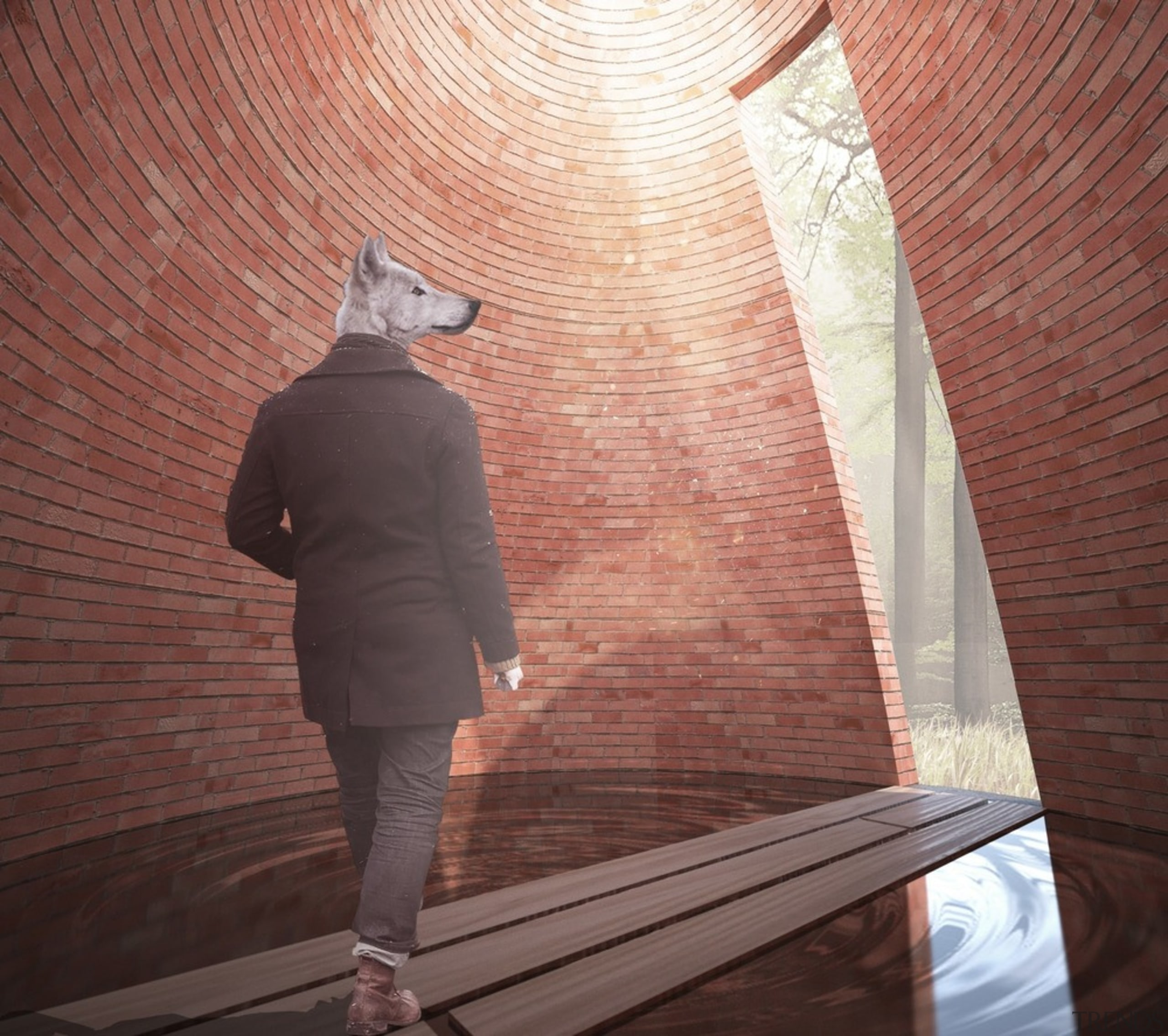 """Le dernier petit cochon"" or ""The last one architecture, standing, wall, wood, red"