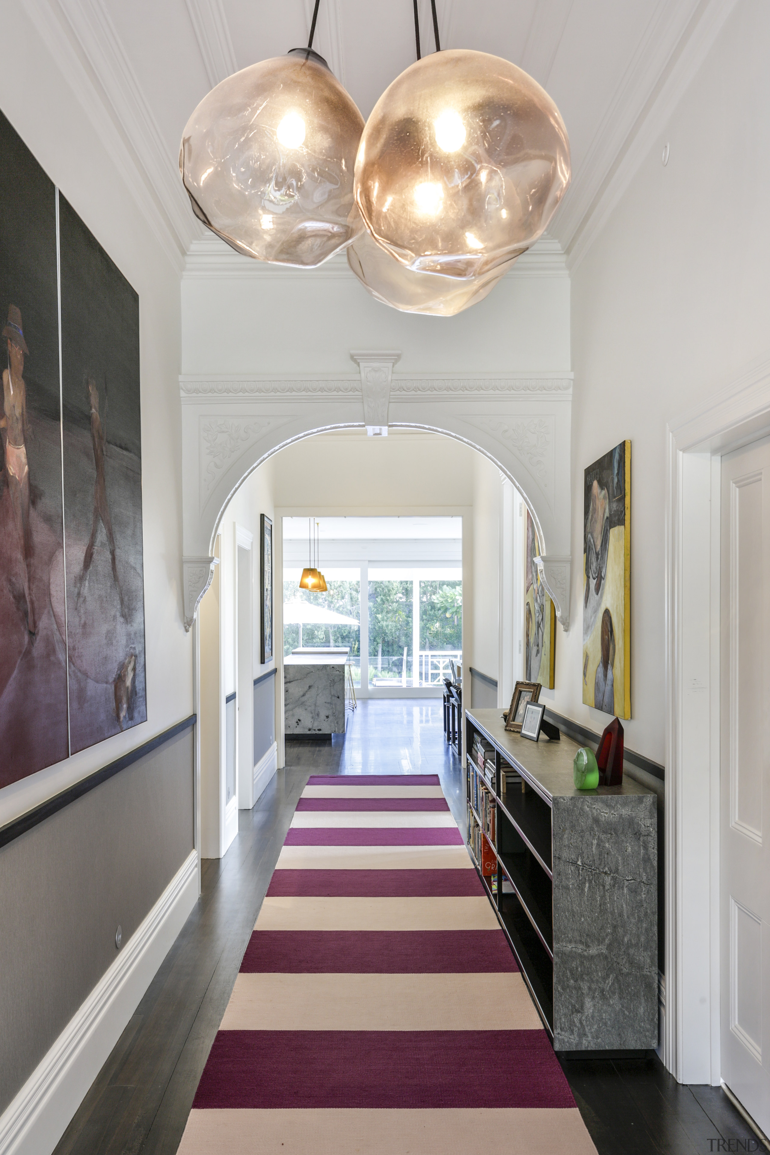 Classic detailing was restored in the hall and ceiling, home, interior design, hallway, Matt Brew Architect