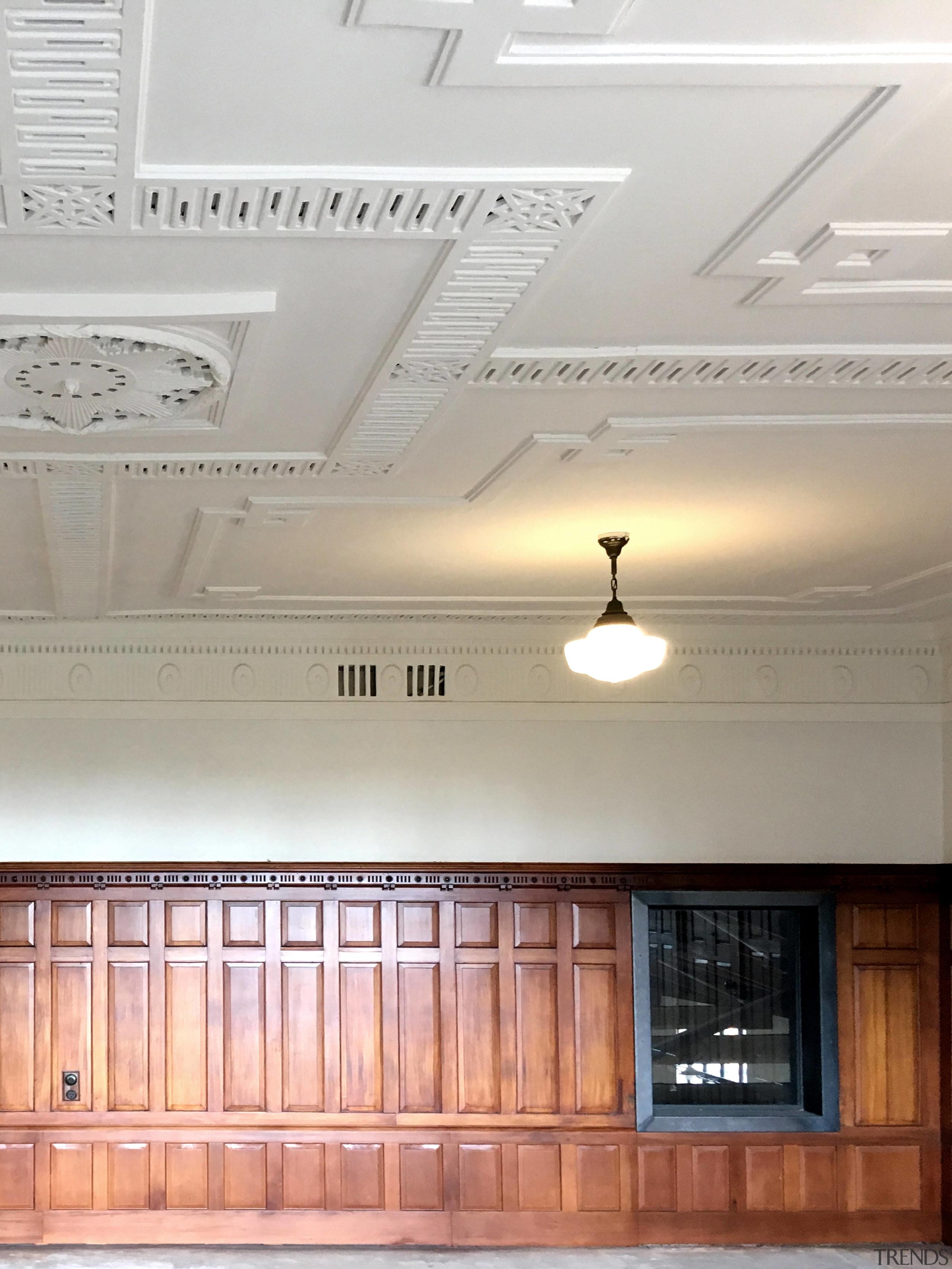 This internal window in the Orange Halls upstairs ceiling, daylighting, floor, interior design, light fixture, lighting, molding, plaster, wall, gray