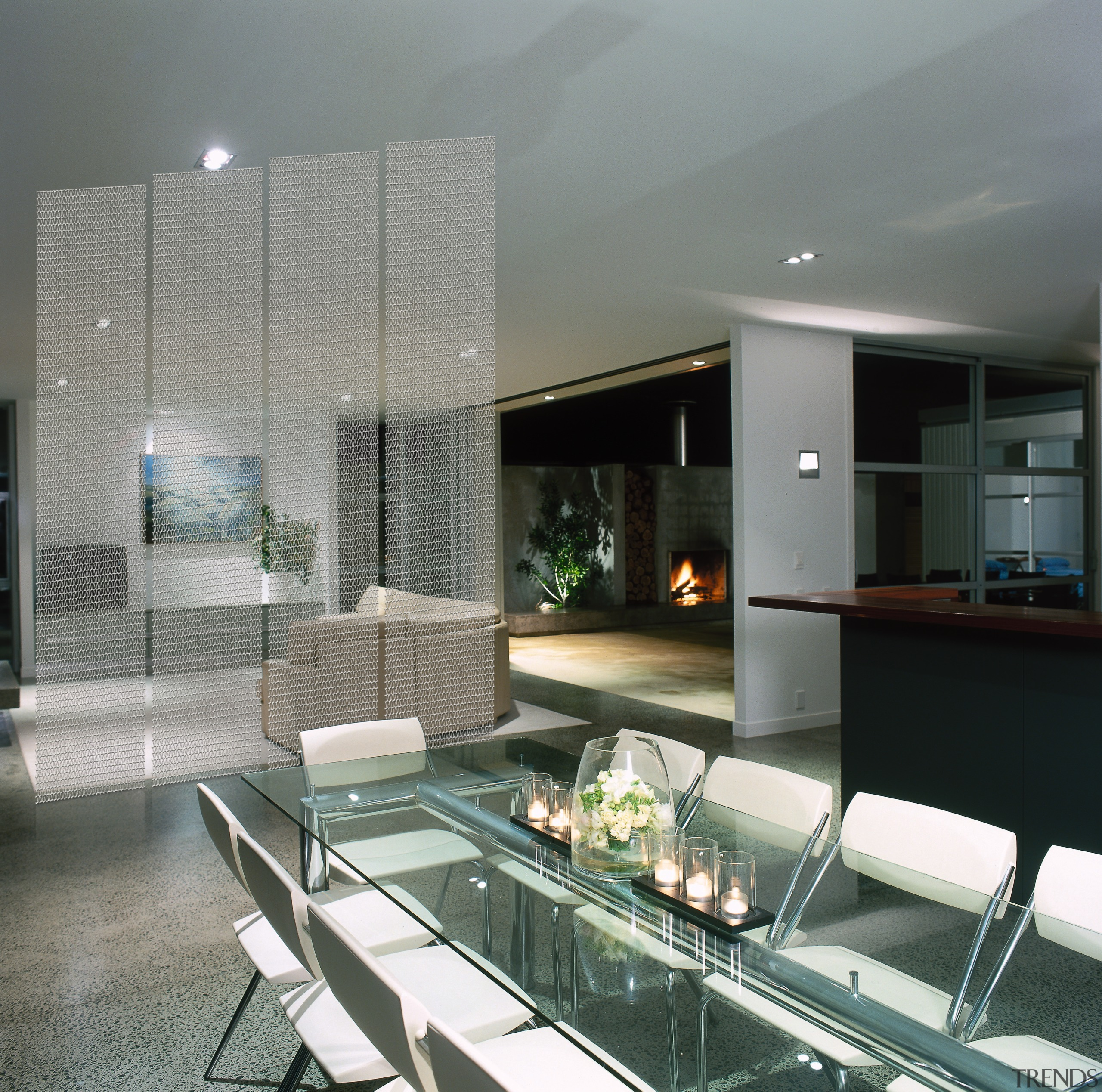 A dining area featuring designer mesh. The area architecture, condominium, glass, interior design, real estate, window, gray