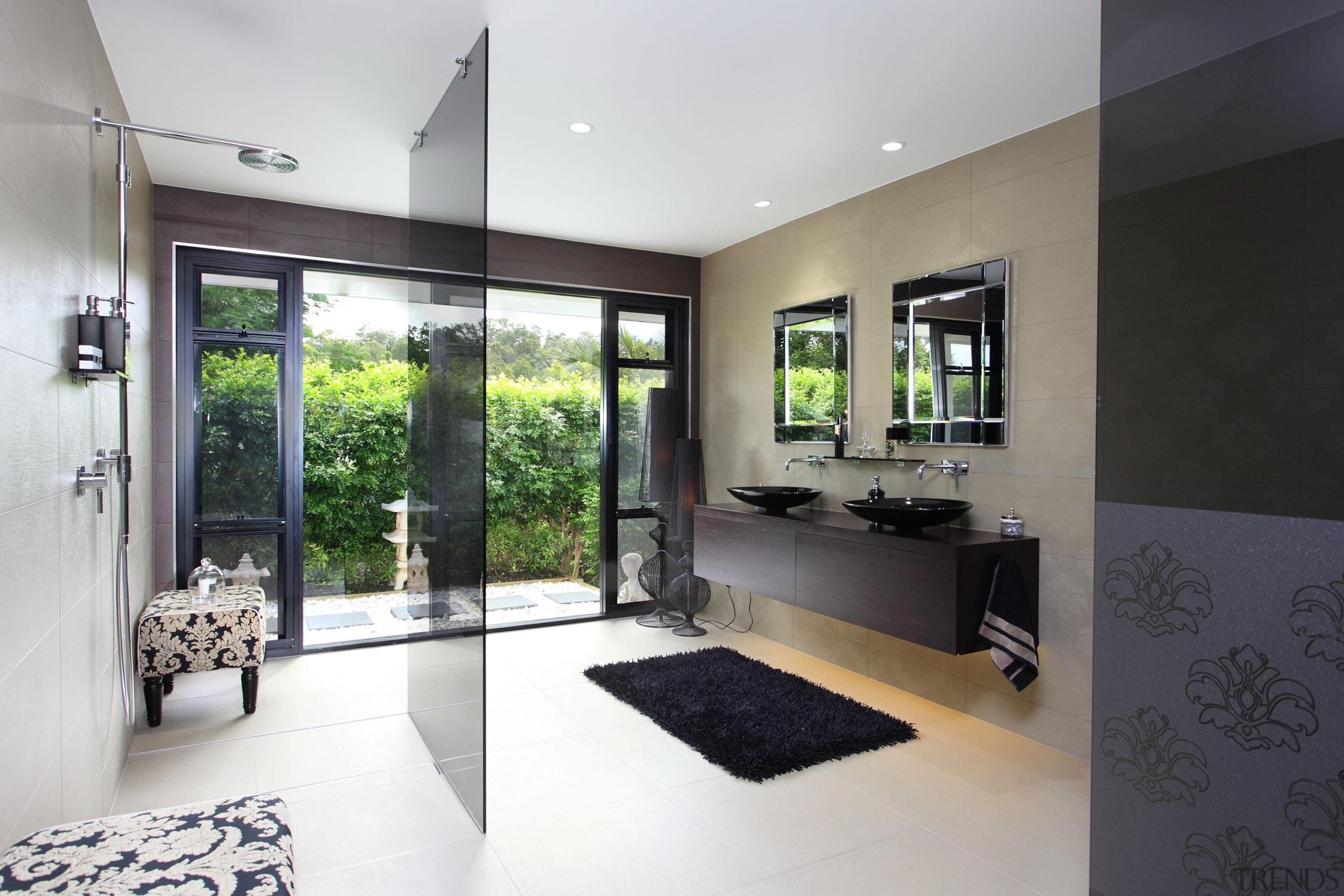 Winner Bathroom Design of the Year Queensland 2013 architecture, floor, home, house, interior design, living room, property, real estate, room, window, white, black