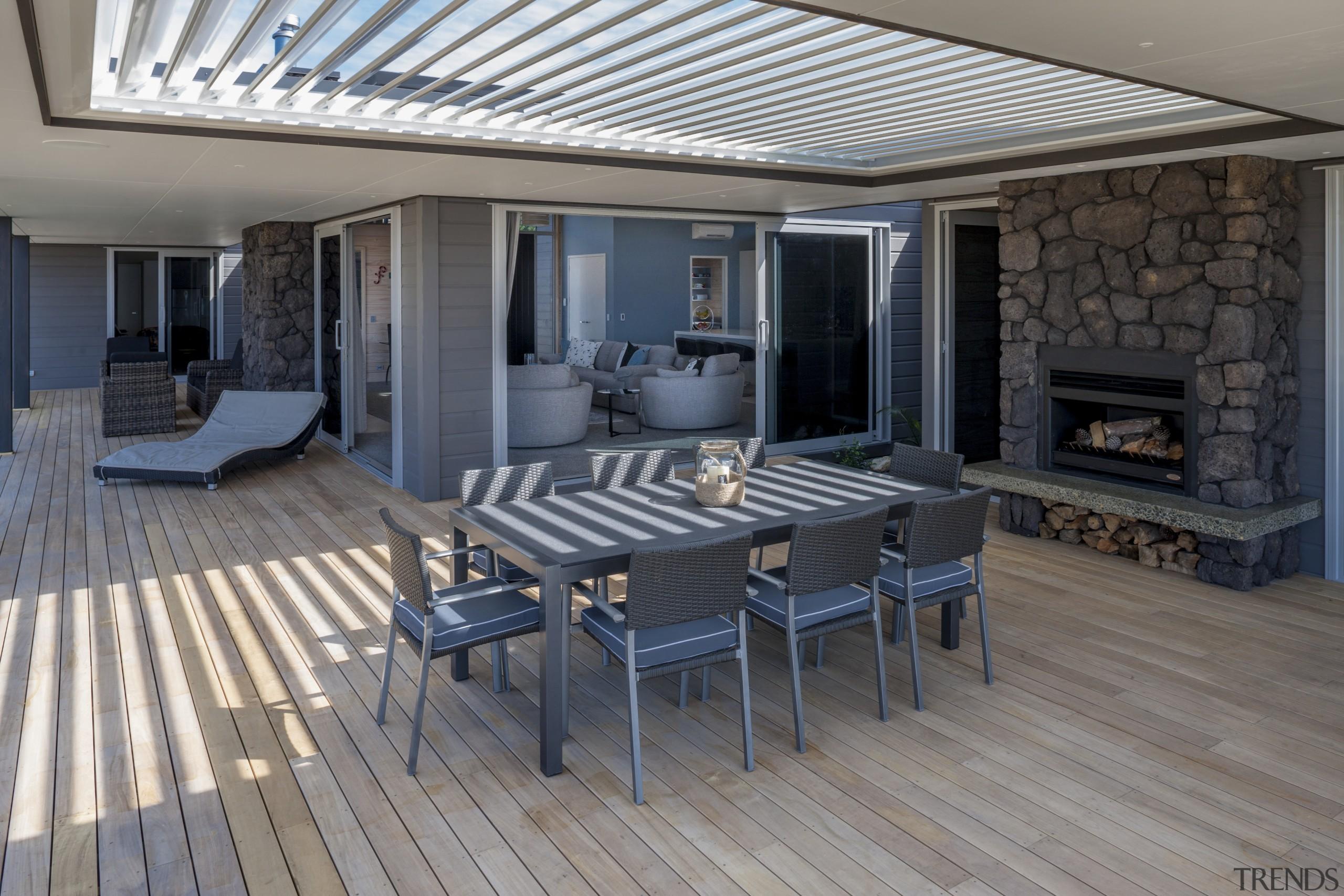 Lockwood Home built by Peter Richards - Lockwood deck, floor, flooring, interior design, patio, real estate, wood flooring, gray, black
