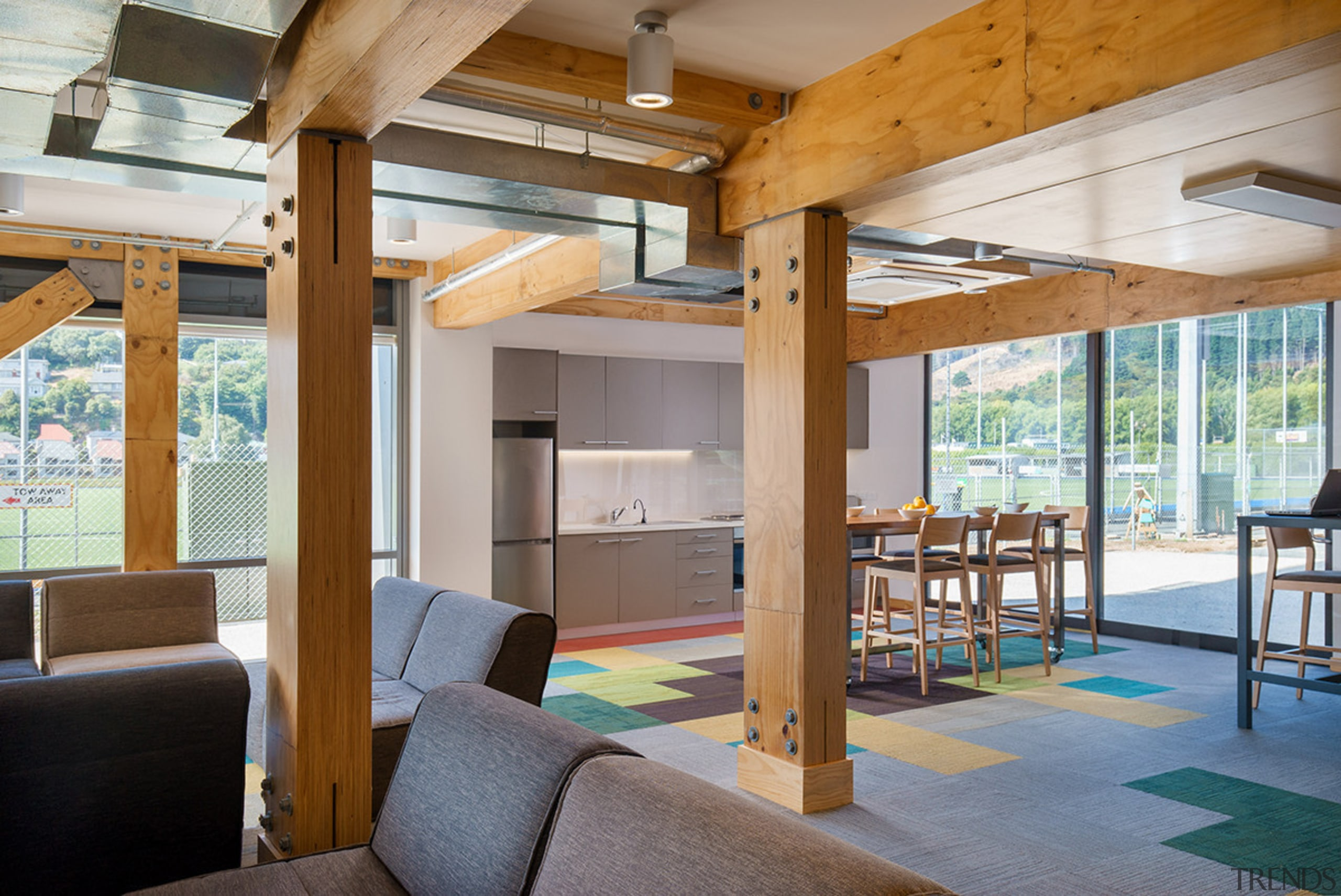 Exposed cross laminated timber beams add a touch house, interior design, real estate, gray