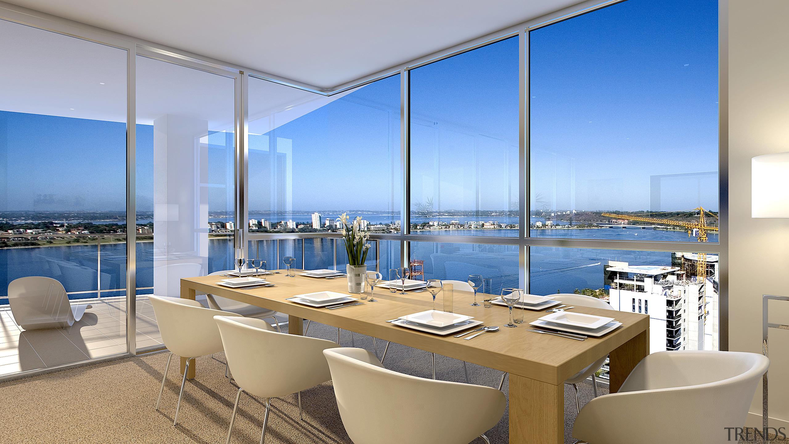 View of the Fairlanes Perth apartment dining area. apartment, condominium, interior design, penthouse apartment, real estate, window, gray