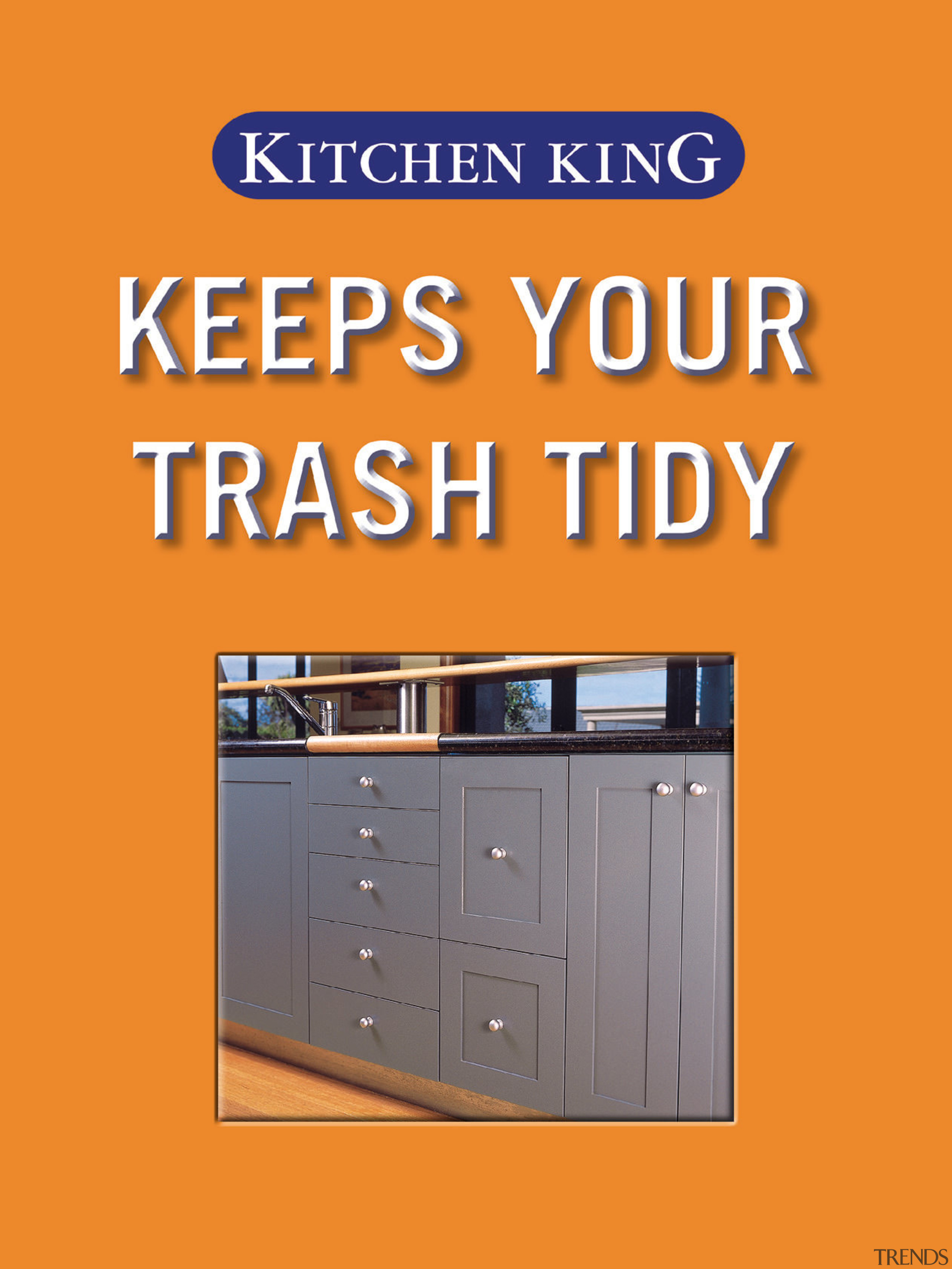 A view of the waste disposal drawer. - font, furniture, line, product, text, orange