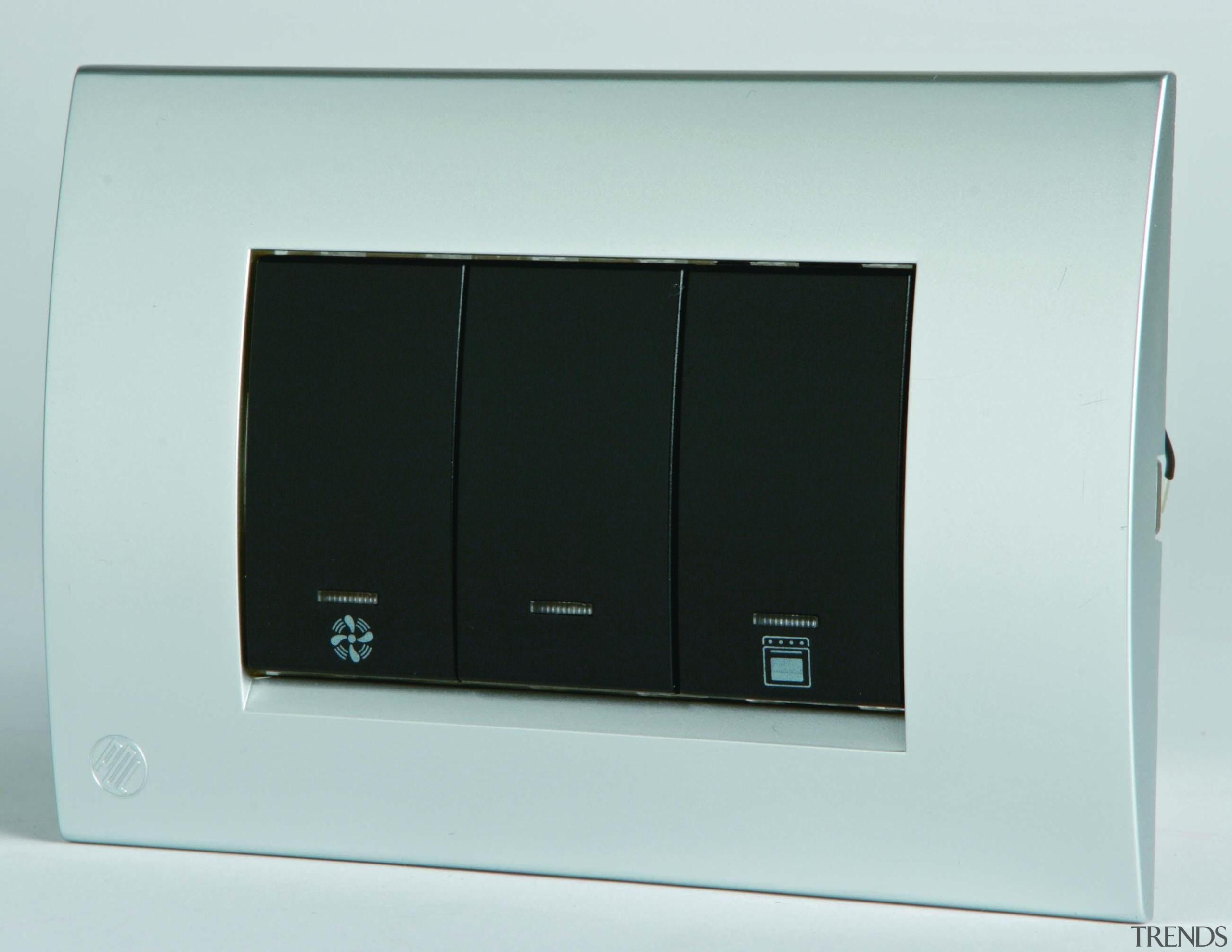 Modena triple switch, light, fan, oven - Black display device, electronic device, technology, white