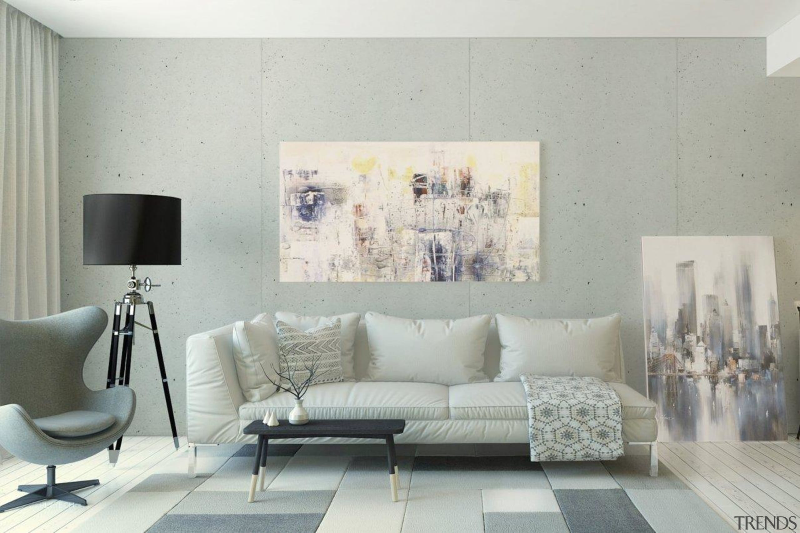 Concrete offers a different look for your home couch, floor, furniture, home, interior design, living room, room, table, wall, gray