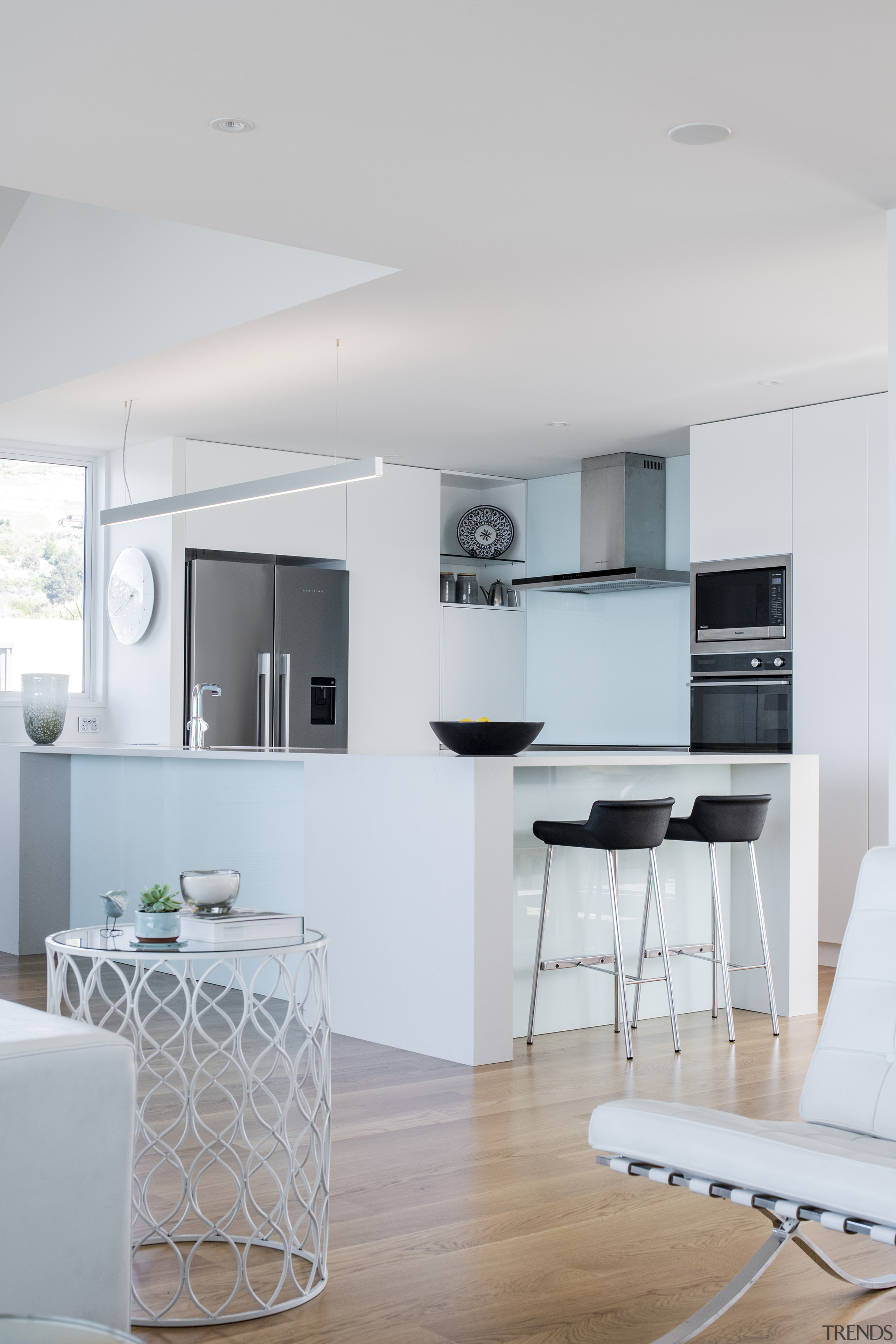 White and wood provide a pleasing combination for