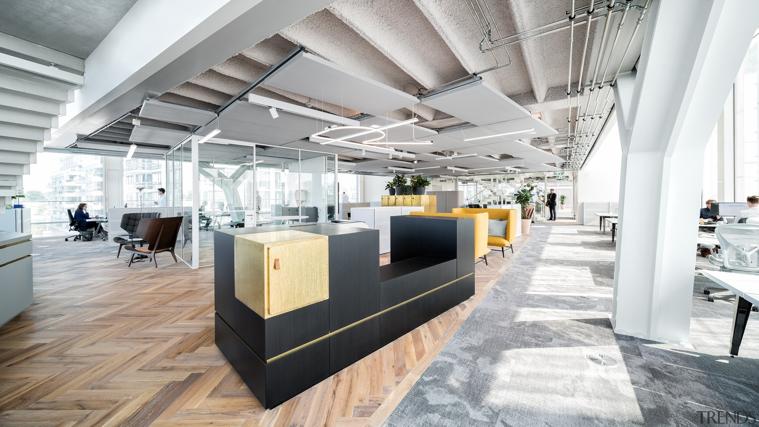 All activities in the ground-breaking offices are positioned architecture, building, ceiling, daylighting, design, floor, flooring, furniture, house, interior design, lobby, loft, material property, office, property, real estate, room, table, white