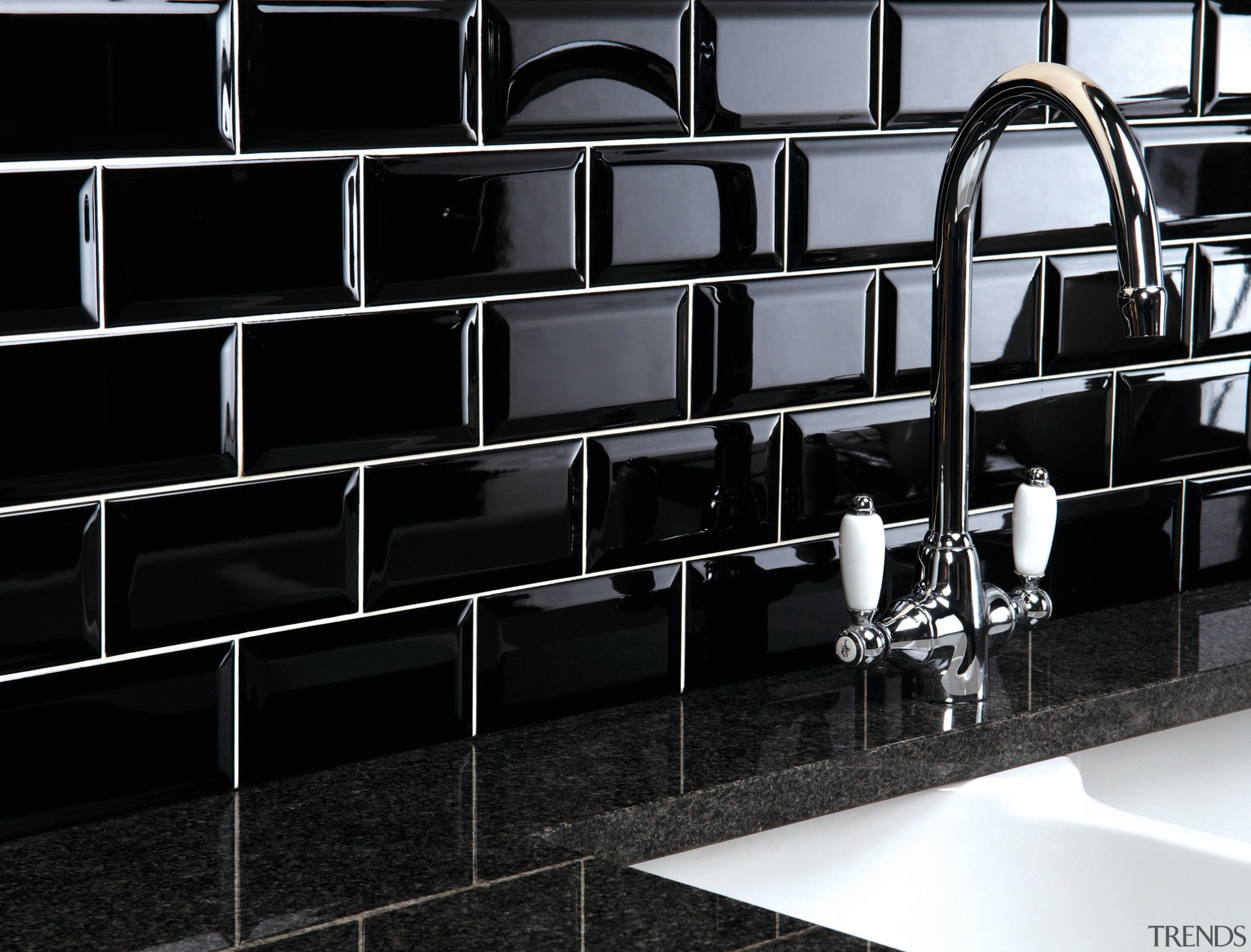 These sleek black tiles from Tile Trends create black, black and white, design, floor, flooring, furniture, glass, interior design, product design, tile, wall, black