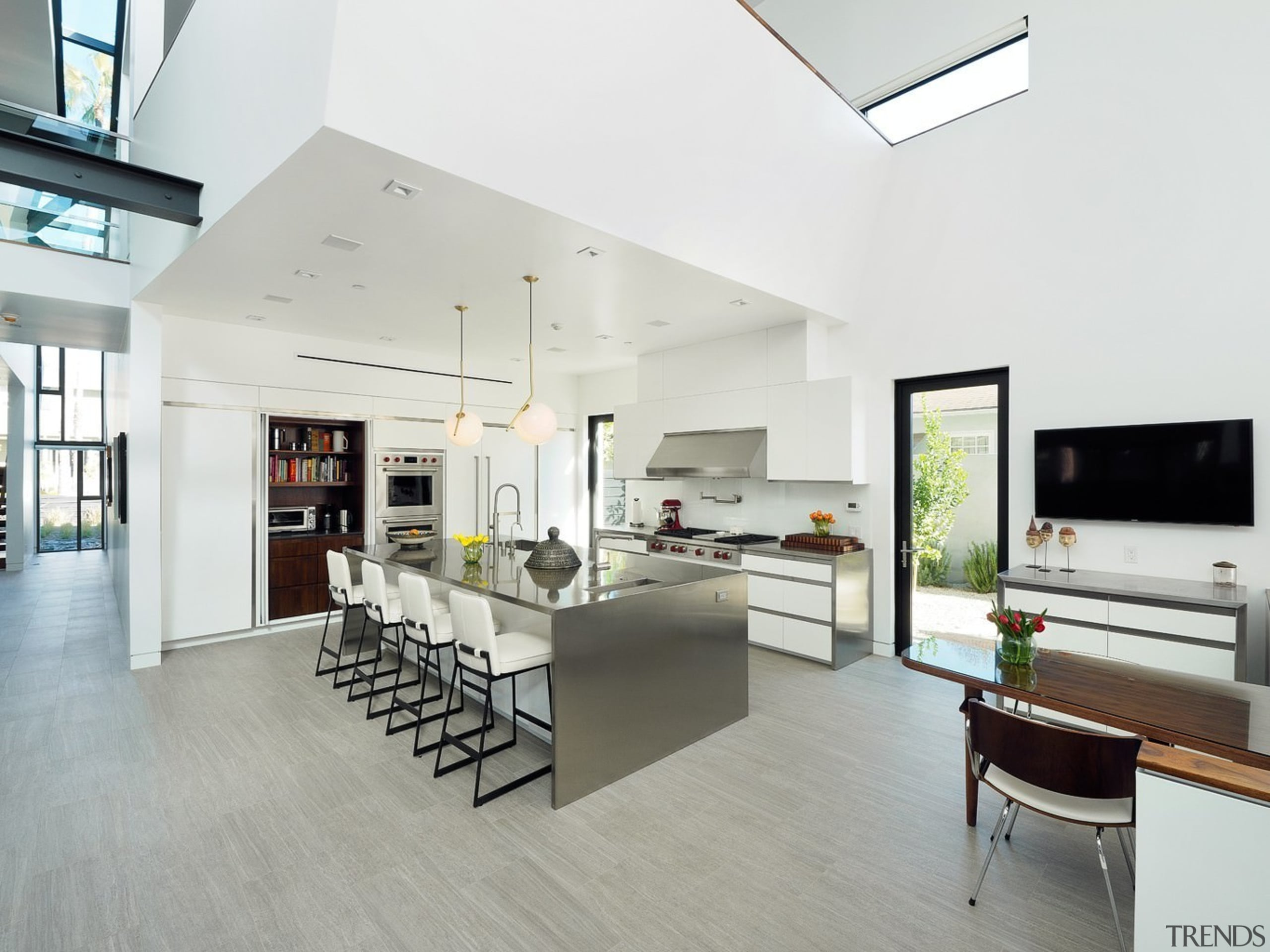The balcony sits above the kitchen - The architecture, floor, house, interior design, interior designer, kitchen, living room, loft, real estate, white