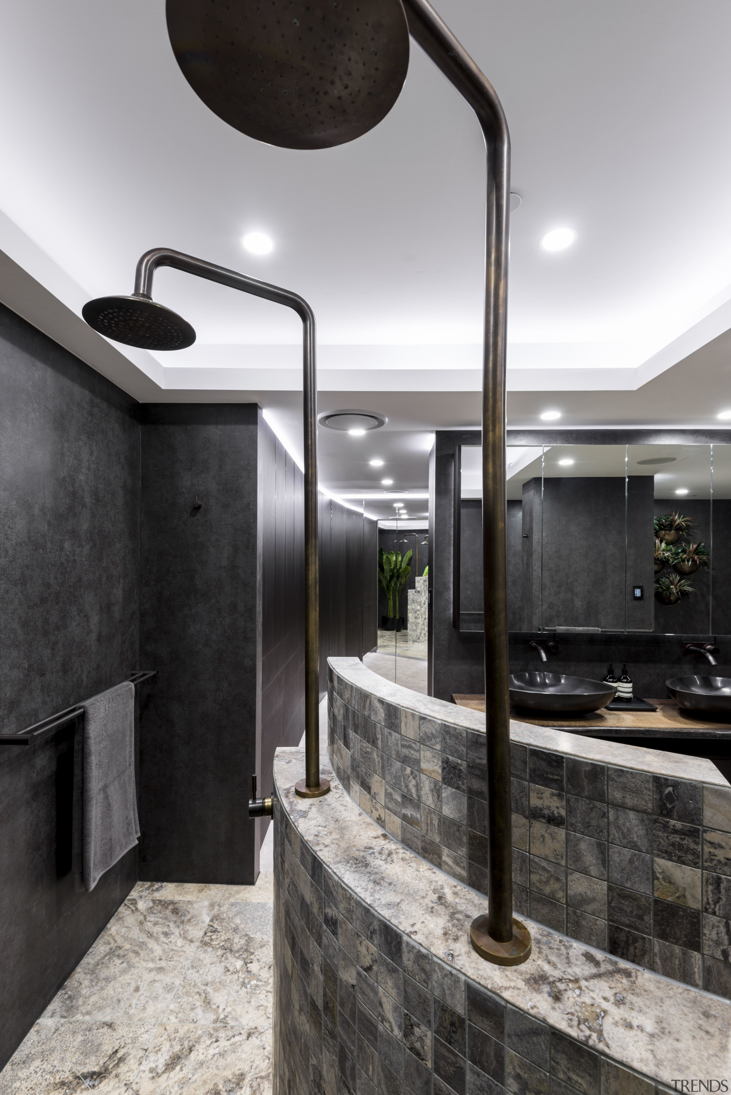 Designer Kim Duffin added a stepped curved shower architecture, interior design, black, gray, white