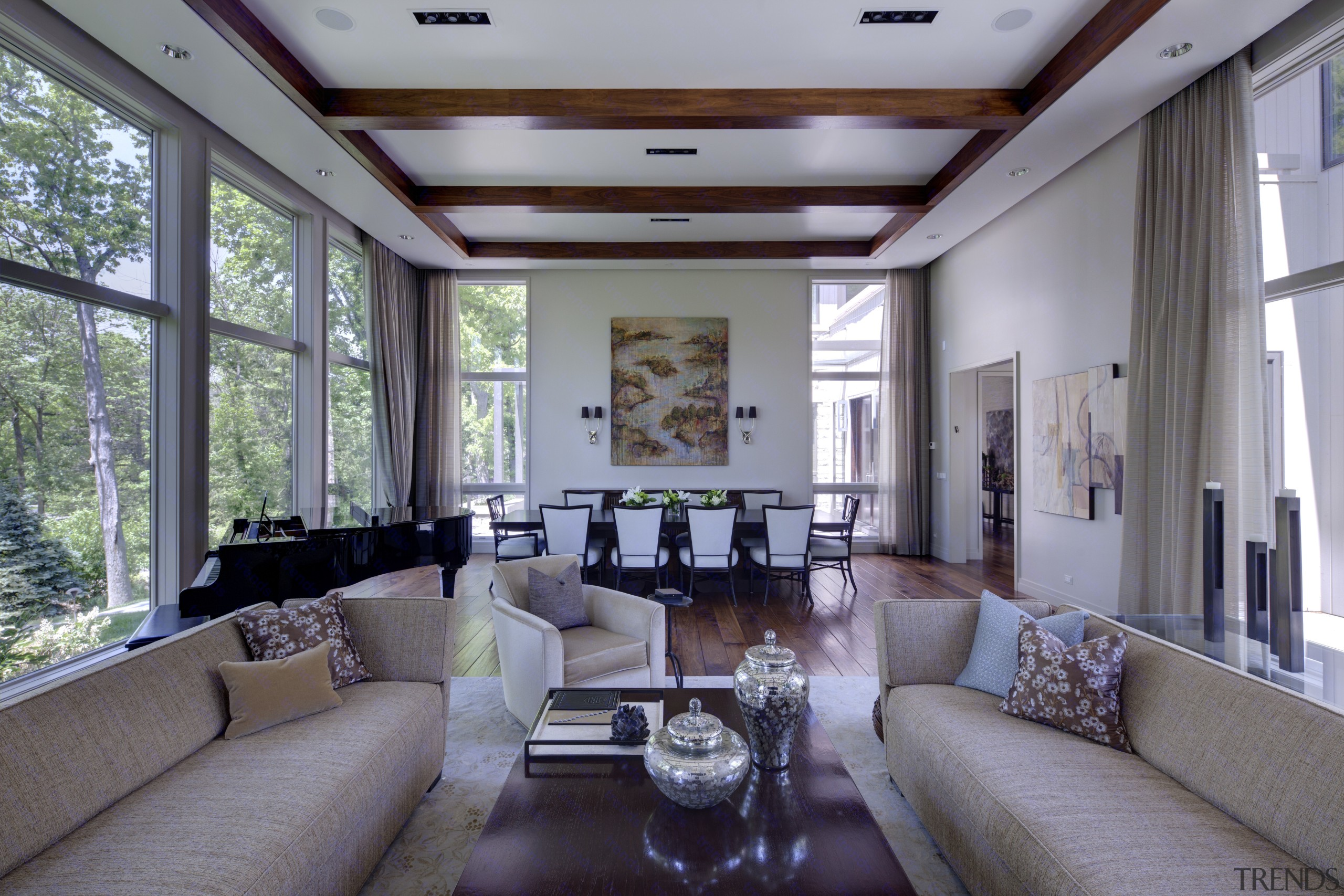 Greys and whites offset wooden floors and ceilings. ceiling, interior design, living room, real estate, window, gray