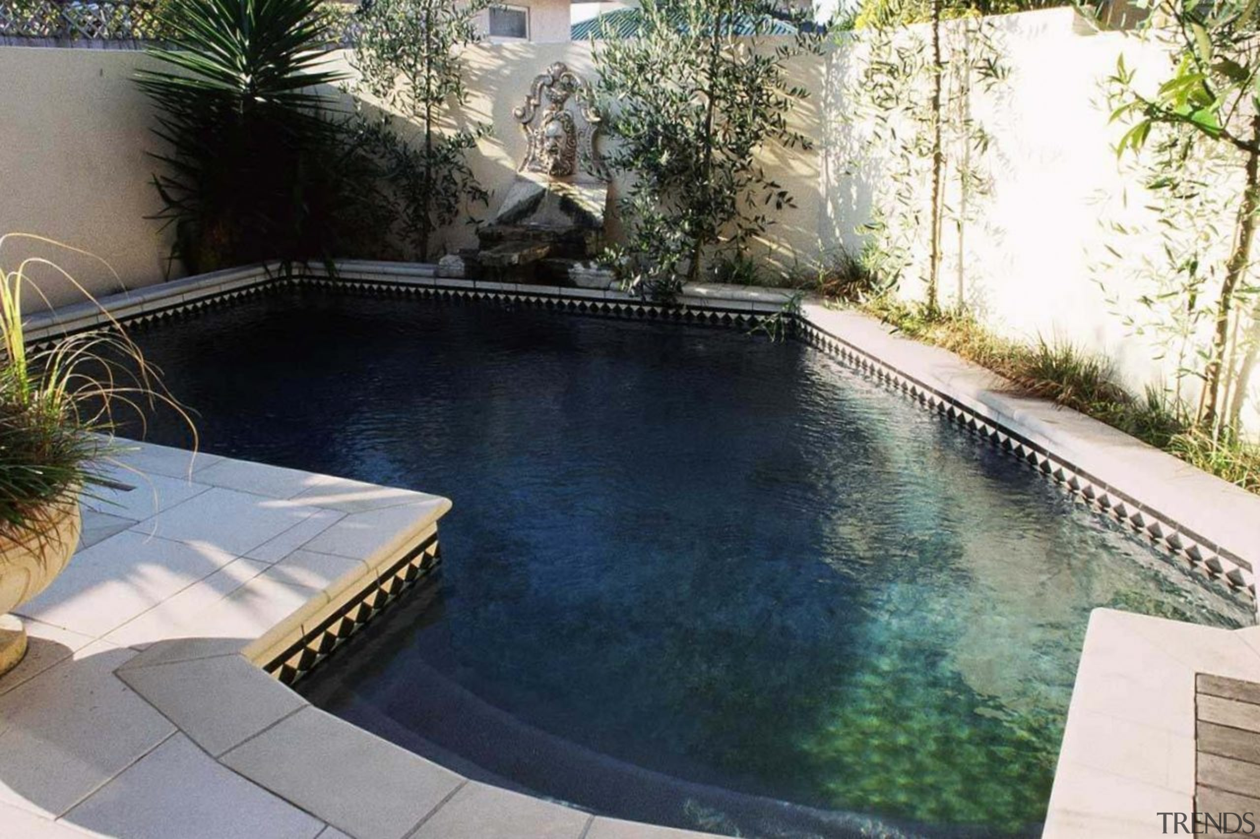 Cutting down on chemicals - backyard | courtyard backyard, courtyard, estate, grass, home, house, landscaping, leisure, property, real estate, reflecting pool, swimming pool, water feature, yard, black, gray