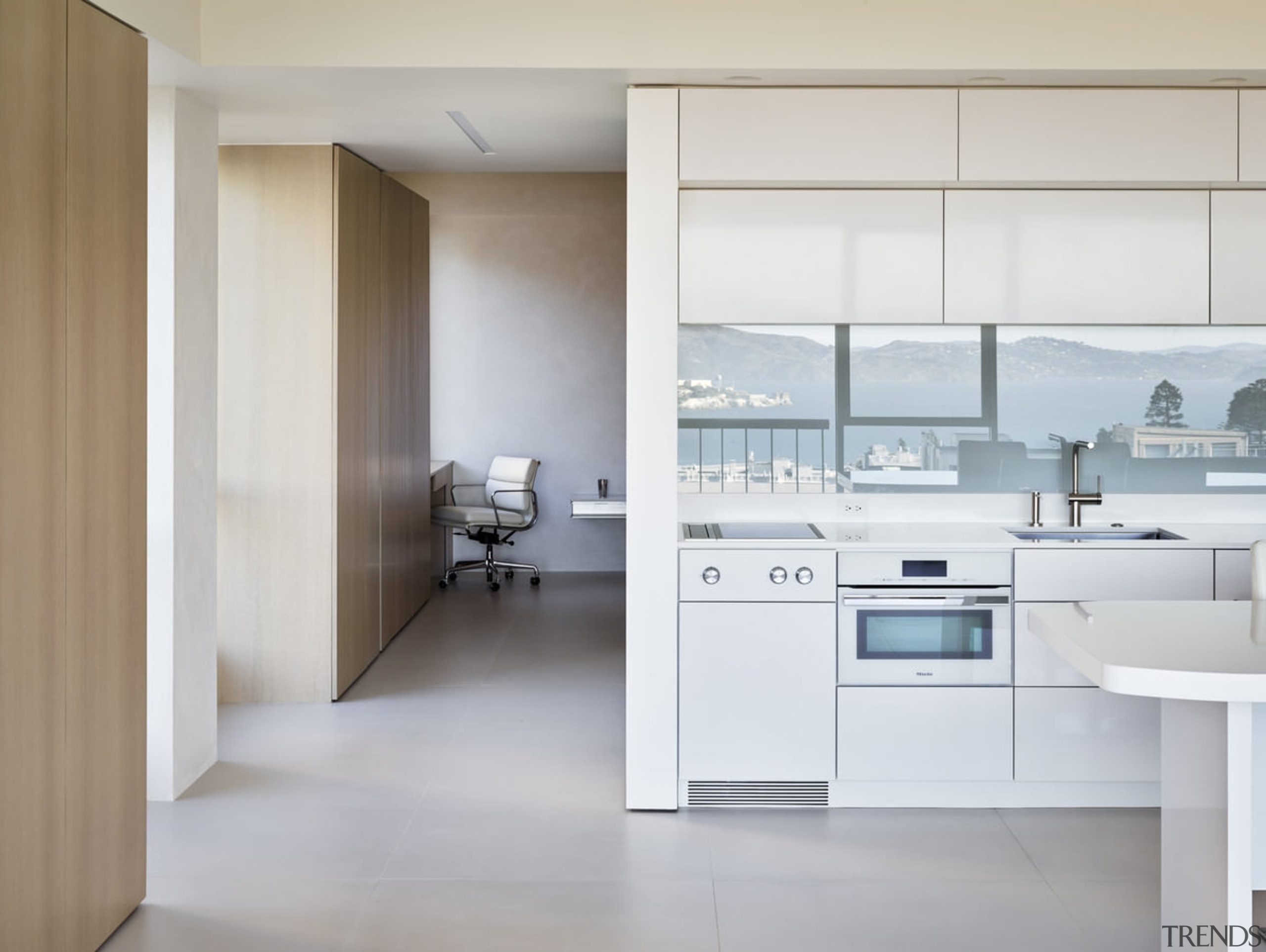 A simple kitchen reflects the bay - A cabinetry, countertop, floor, home appliance, interior design, kitchen, product design, gray