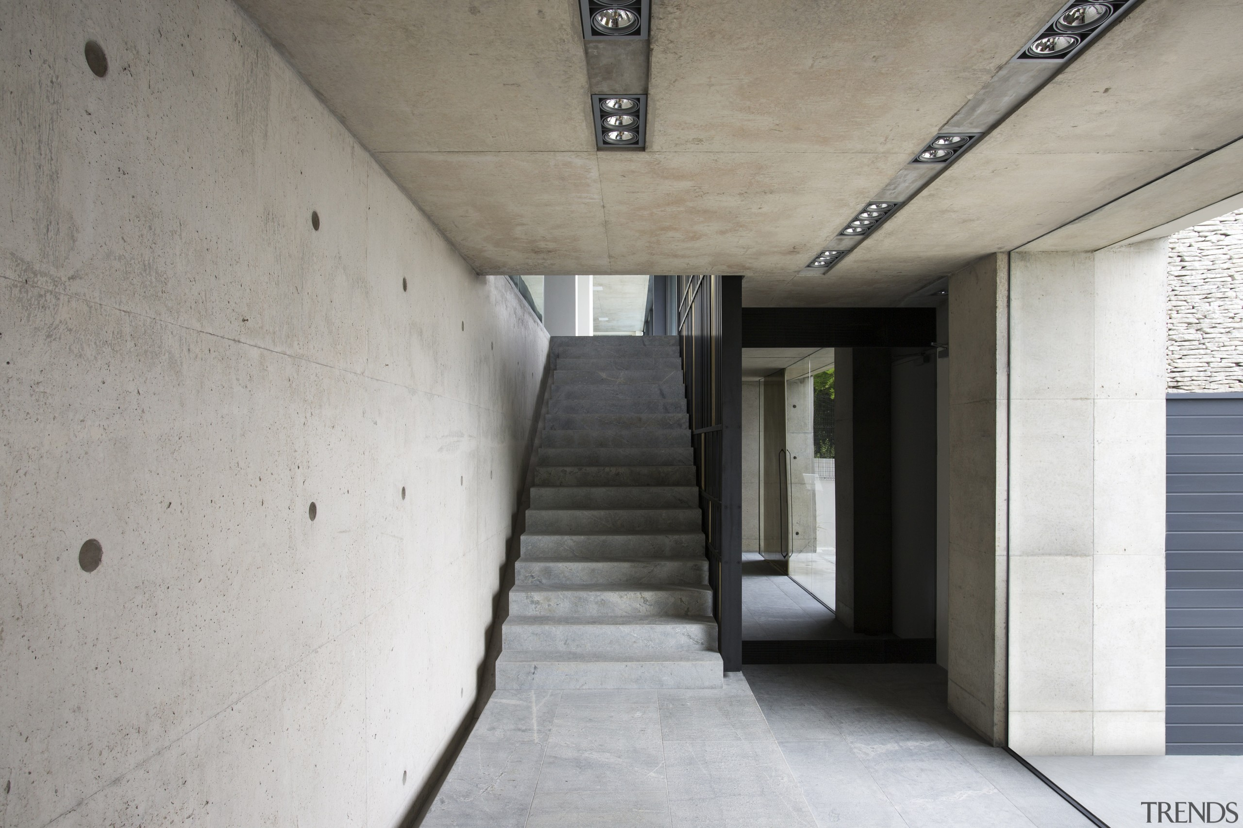 The shuttered concrete surface continues on the walls architecture, concrete, daylighting, house, gray