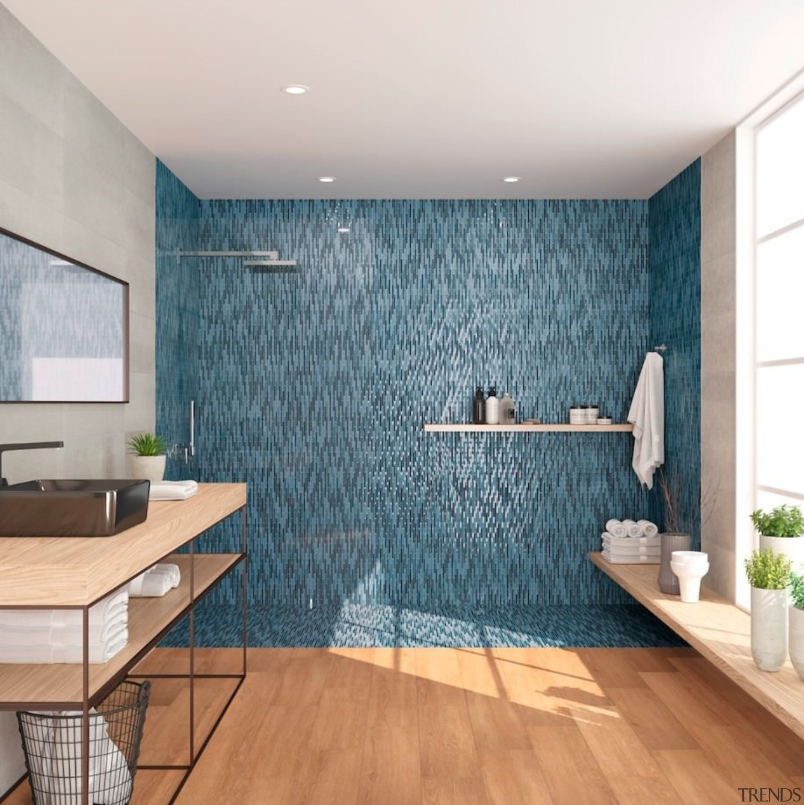 Mosaic tiles have never really gone out of bathroom, ceiling, floor, flooring, interior design, room, tile, wall, wood flooring, white