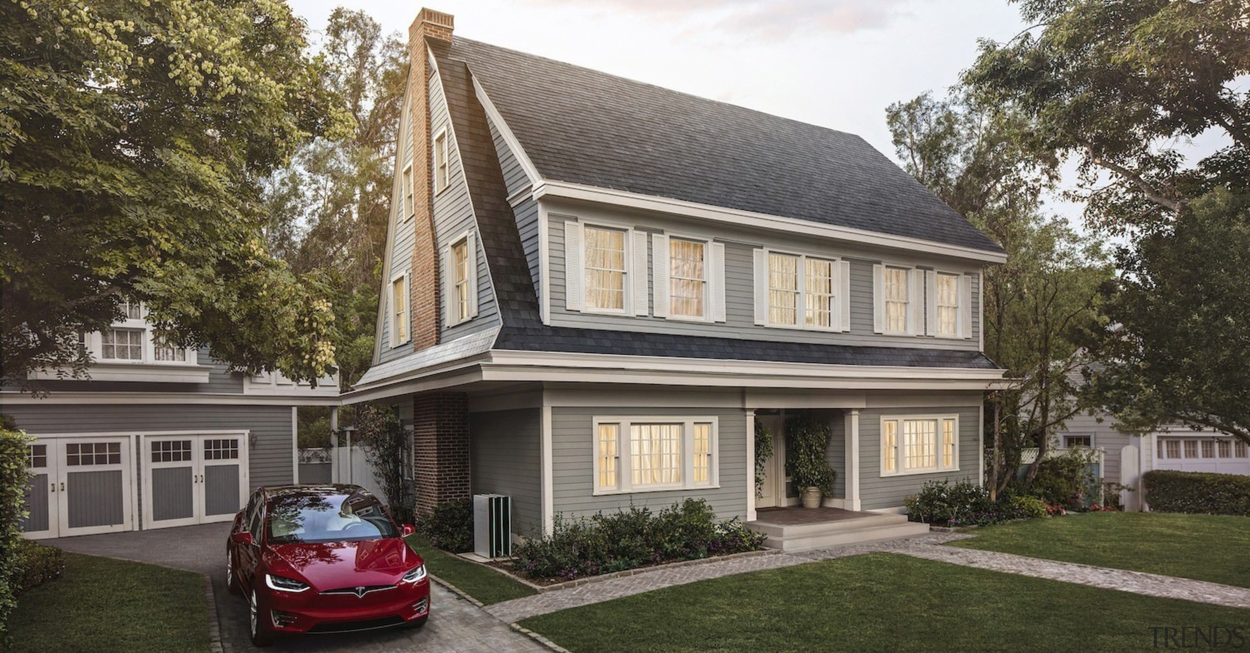 A home with Tesla Solar Roof tiles installed building, cottage, estate, facade, family car, home, house, property, real estate, residential area, roof, siding, suburb, window, gray, black