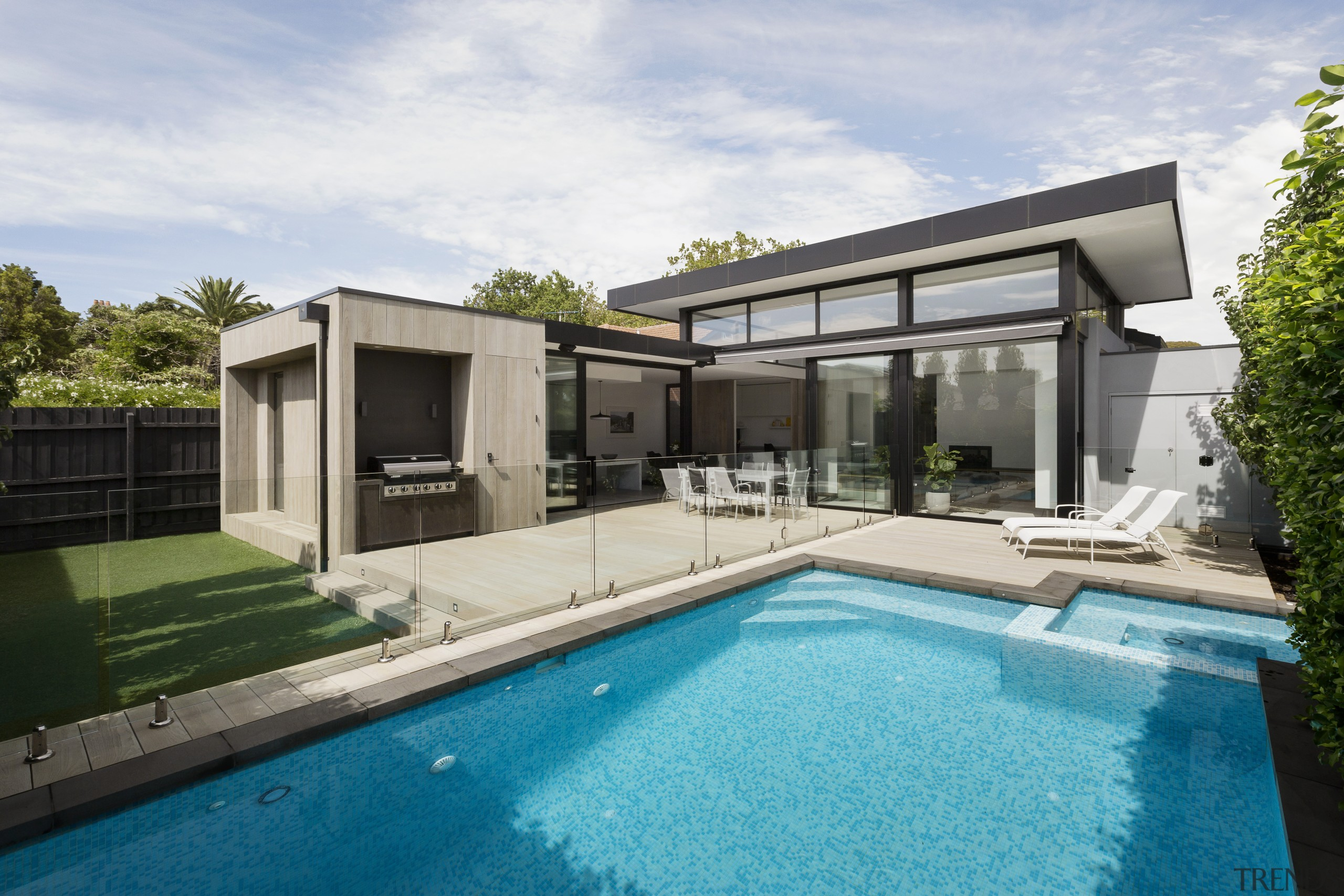 ​​​​​​​Interfering with existing architectural elements – such as architecture, backyard, facade, home, house, wimming pool, villa, window, white, indoor/outdoor flow, LSA Architects