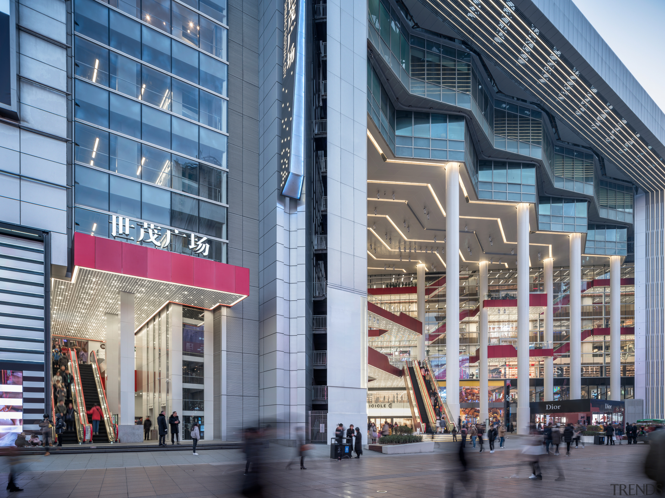 Red balustrading on the Shimao Festival City mall's architecture, building, city, commercial building, balustrading, exterior facade, Kokaistudios