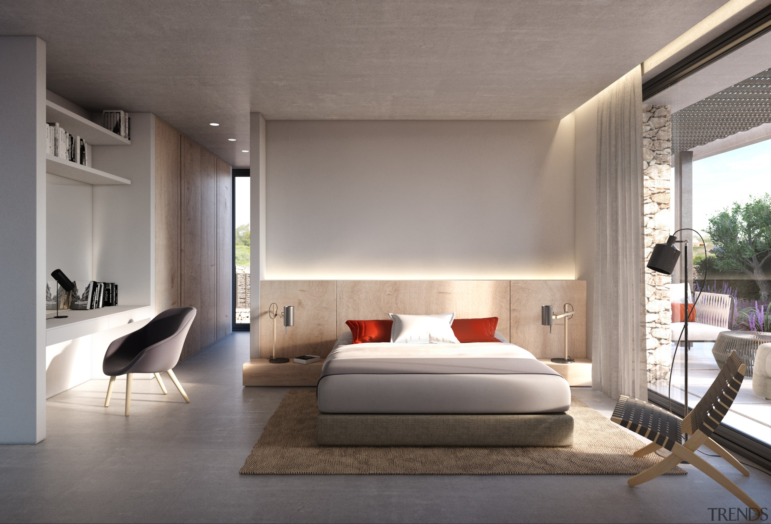Island life – Bedroom suite - architecture | architecture, bed frame, bedroom, ceiling, floor, furniture, house, interior design, room, wall, gray