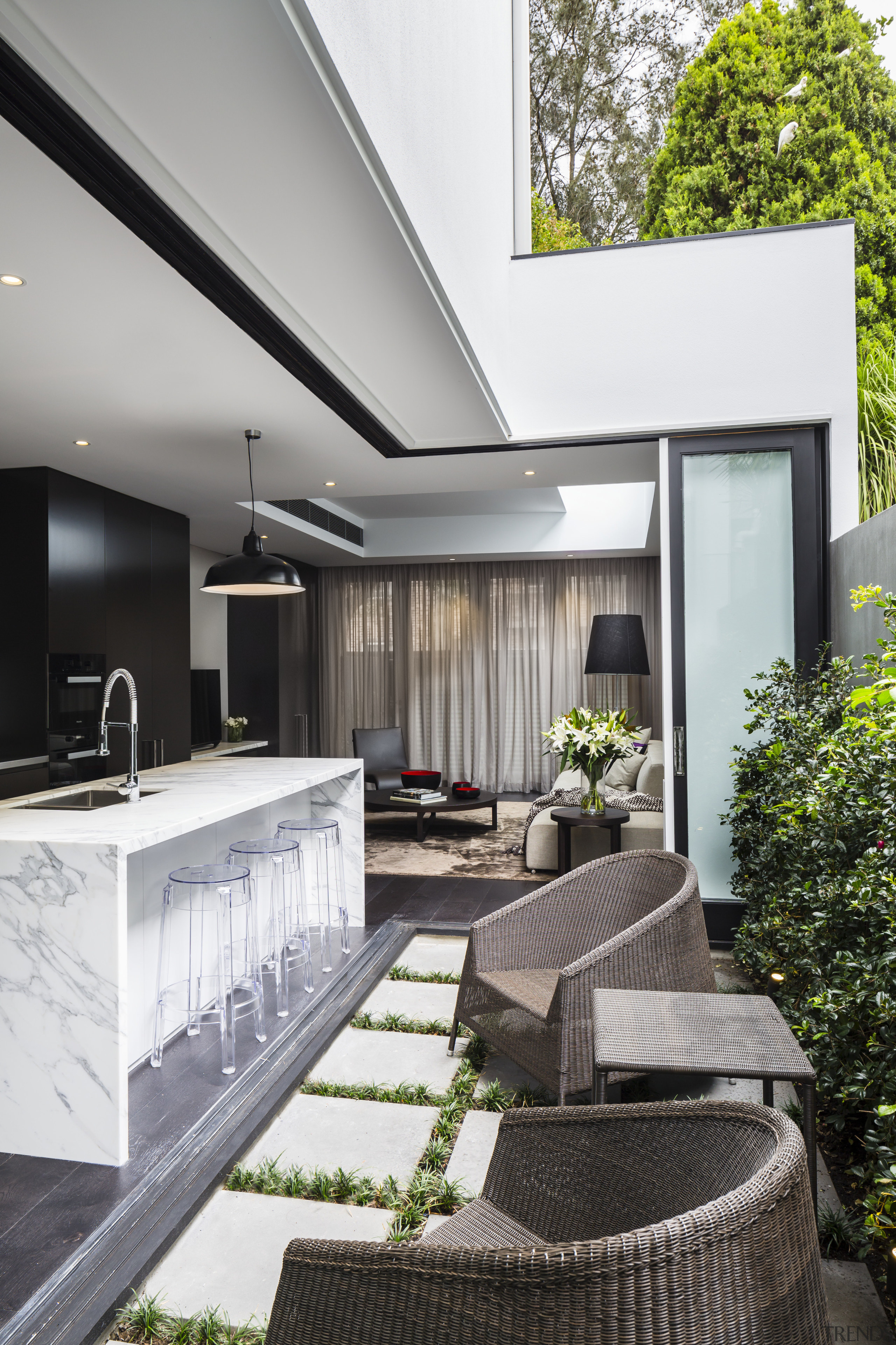 A new kitchen and open-air central courtyard are architecture, backyard, courtyard, daylighting, home, house, interior design, living room, patio, real estate, gray