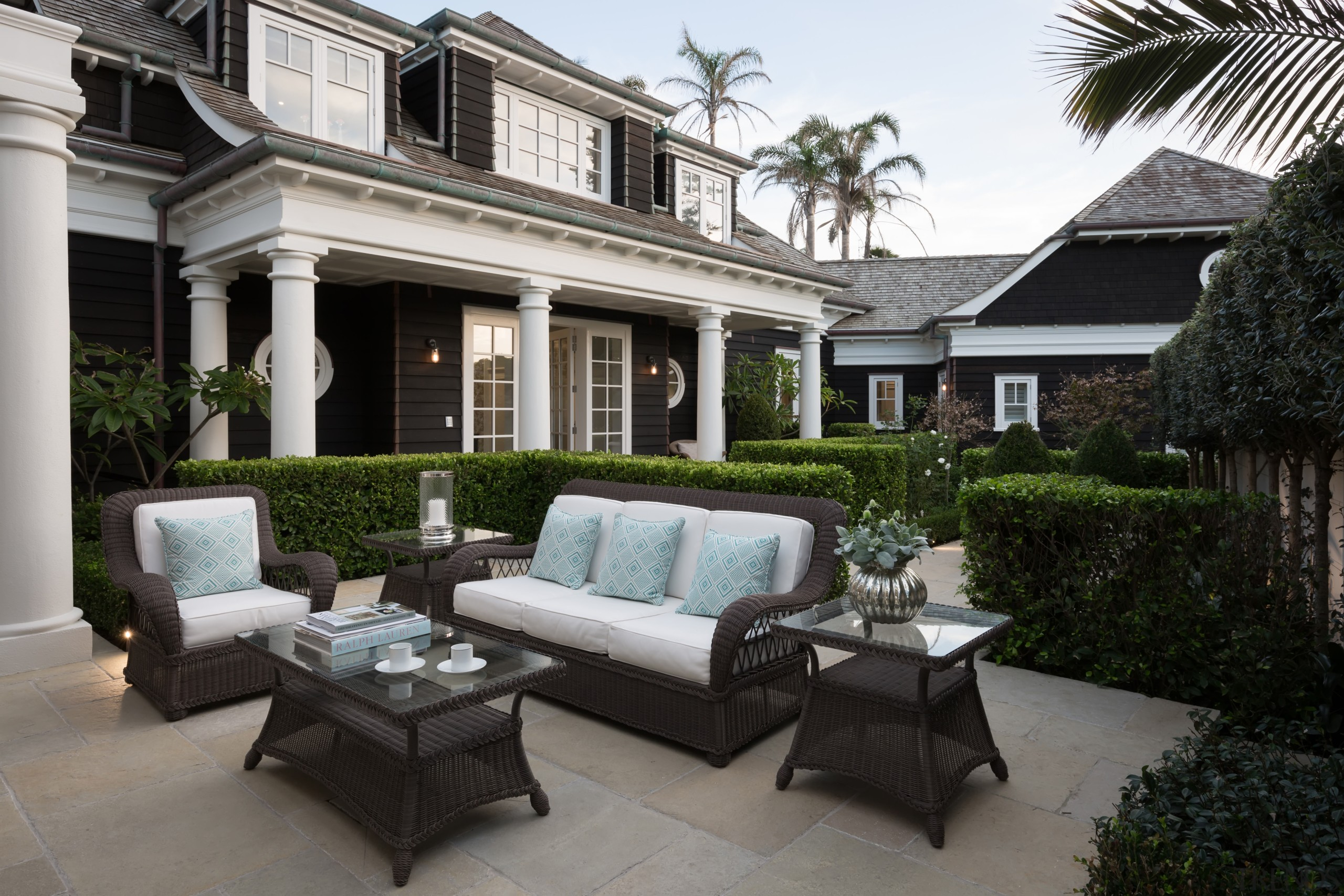 Formal gardens by Robin Shaffer set off this backyard, courtyard, estate, furniture, home, house, interior design, luxury vehicle, outdoor structure, patio, property, real estate, window, black, gray