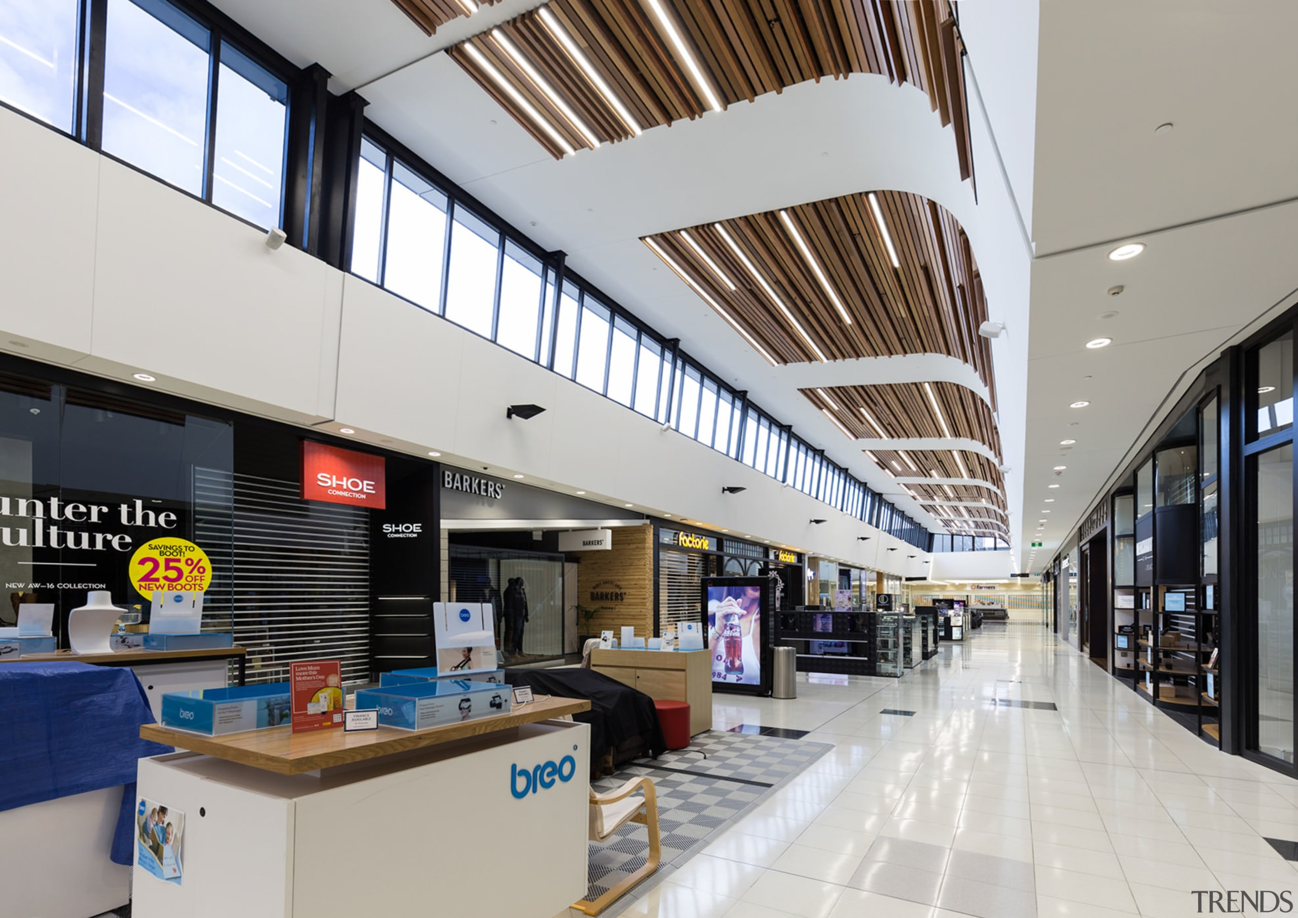Clerestory windows run the length of the North daylighting, interior design, shopping mall, gray
