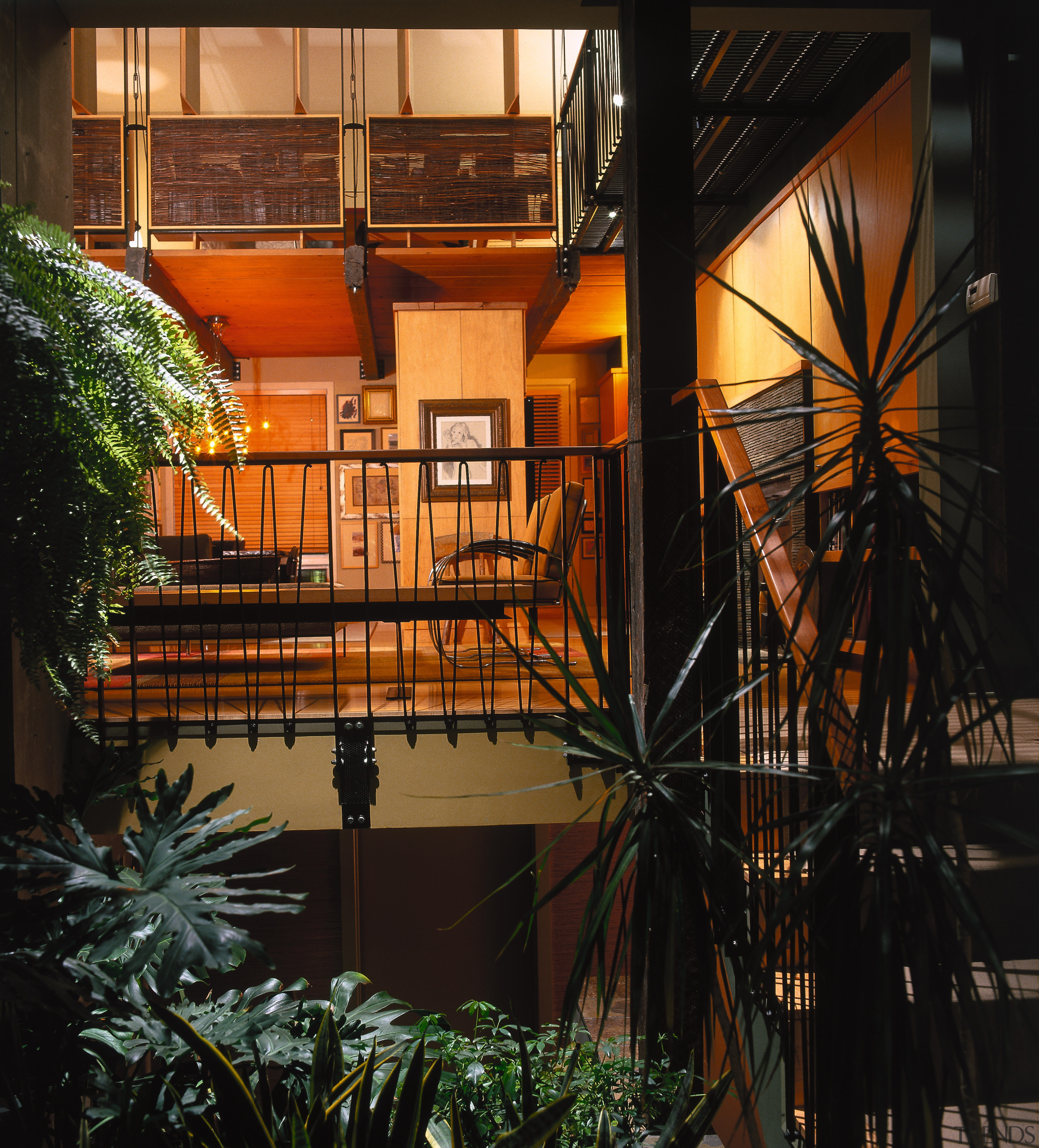 View of the open courtyard and idoor garden, architecture, balcony, building, facade, home, house, window, wood, black