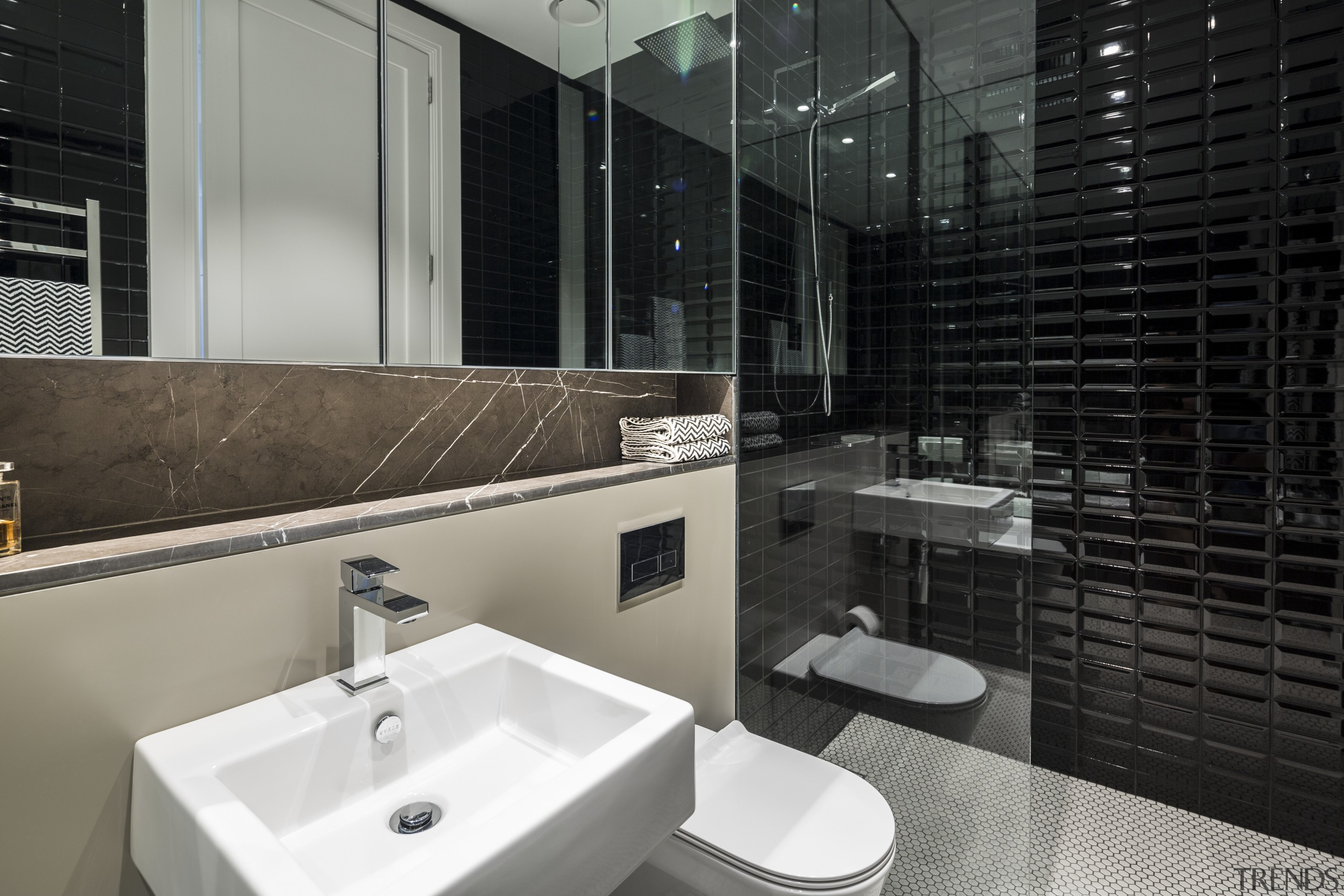 This renovated city residence now has three and architecture, bathroom, interior design, room, black, gray