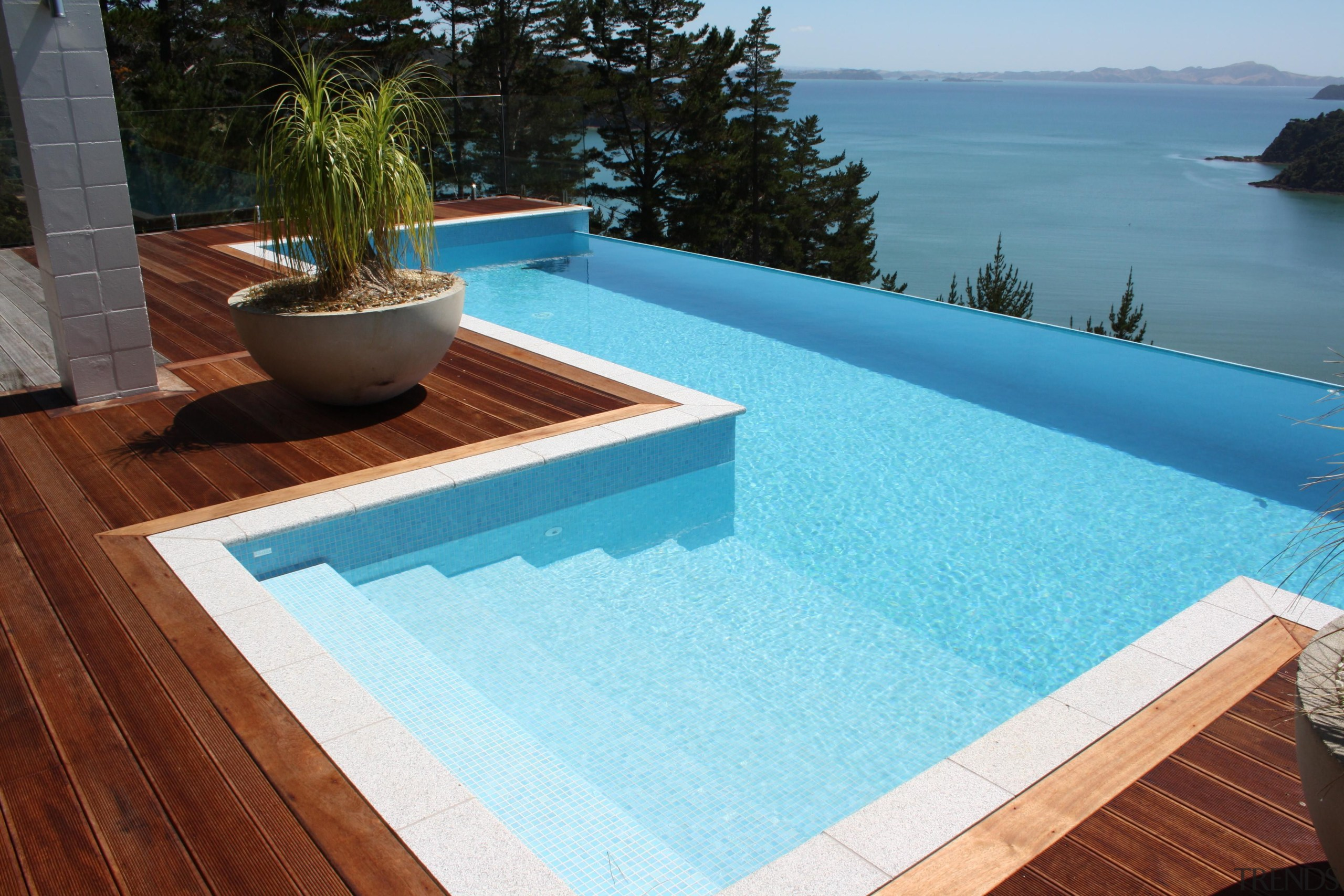 Bisazza Paroa Bay swimming pool tiles - Bisazza composite material, floor, leisure, outdoor furniture, property, roof, sunlounger, swimming pool, wood, teal