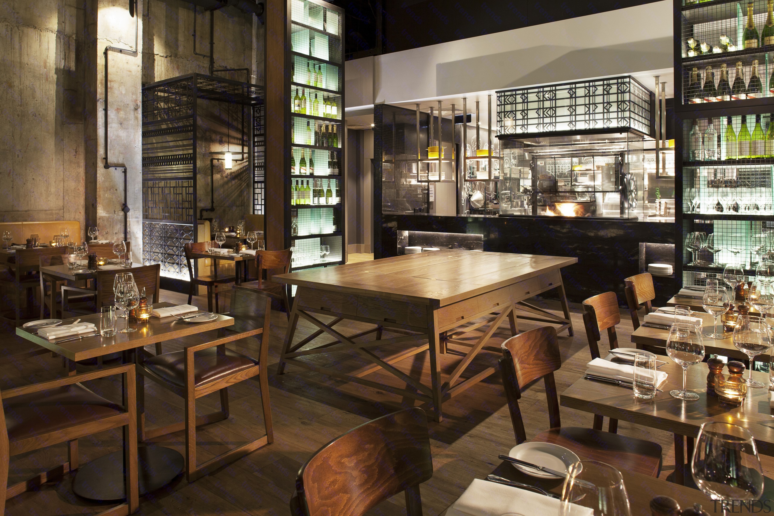 The open kitchen in the new DoubleTree by café, interior design, restaurant, brown