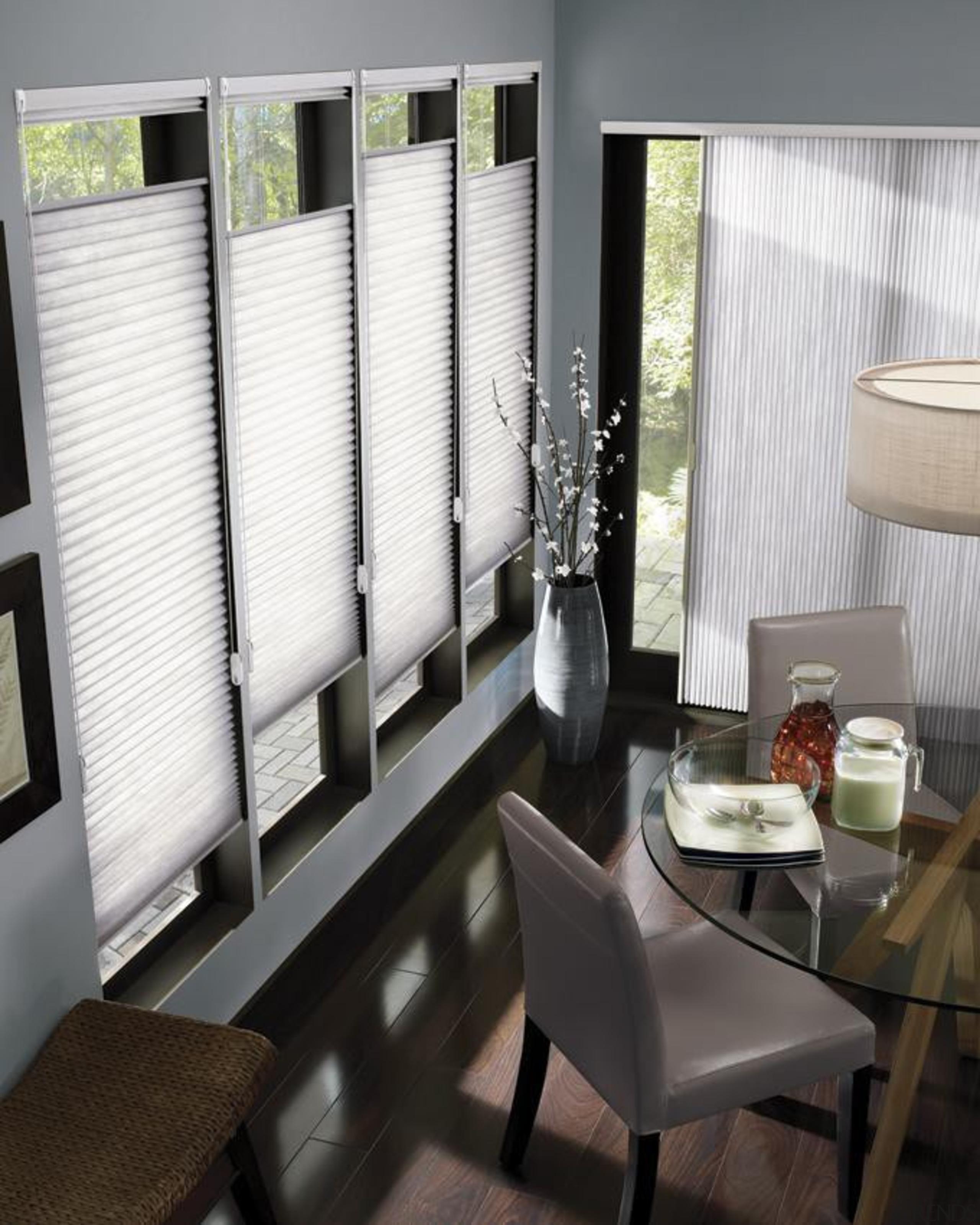 luxaflex duette shades - luxaflex duette shades - curtain, dining room, interior design, living room, room, shade, window, window blind, window covering, window treatment, white, black, gray