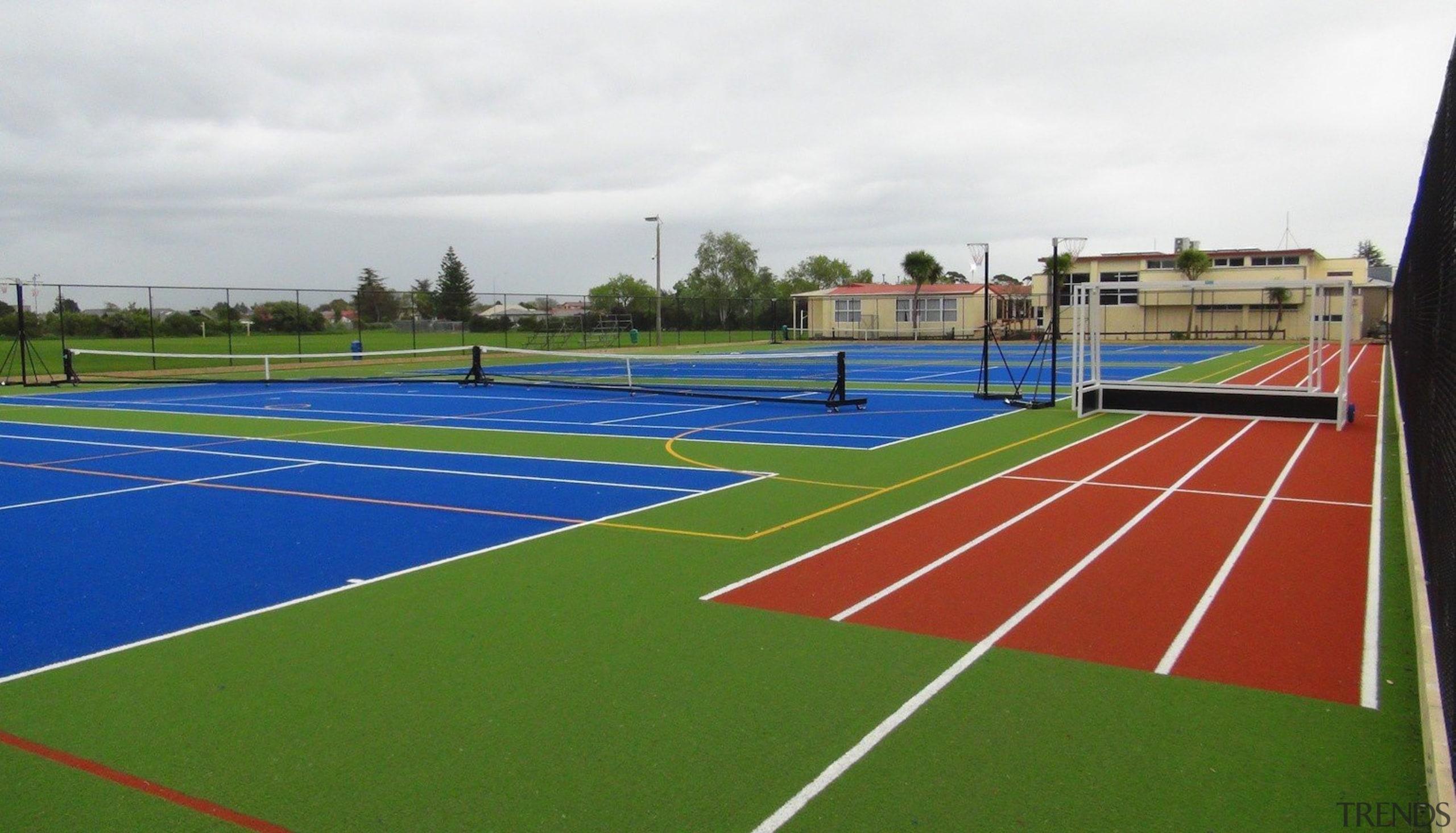 Pre-school, primary & seconday education - Pre-school, primary ball game, grass, line, sport venue, sports, structure, tennis court, white, green