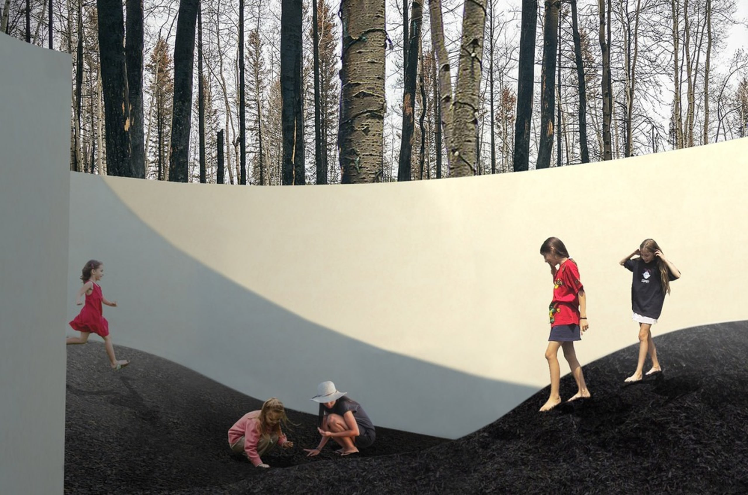 """""""Dirt ground"""": This installation is a terrain de architecture, art, design, plant, tourist attraction, tree, visual arts, wall, woody plant, white, black, gray"""