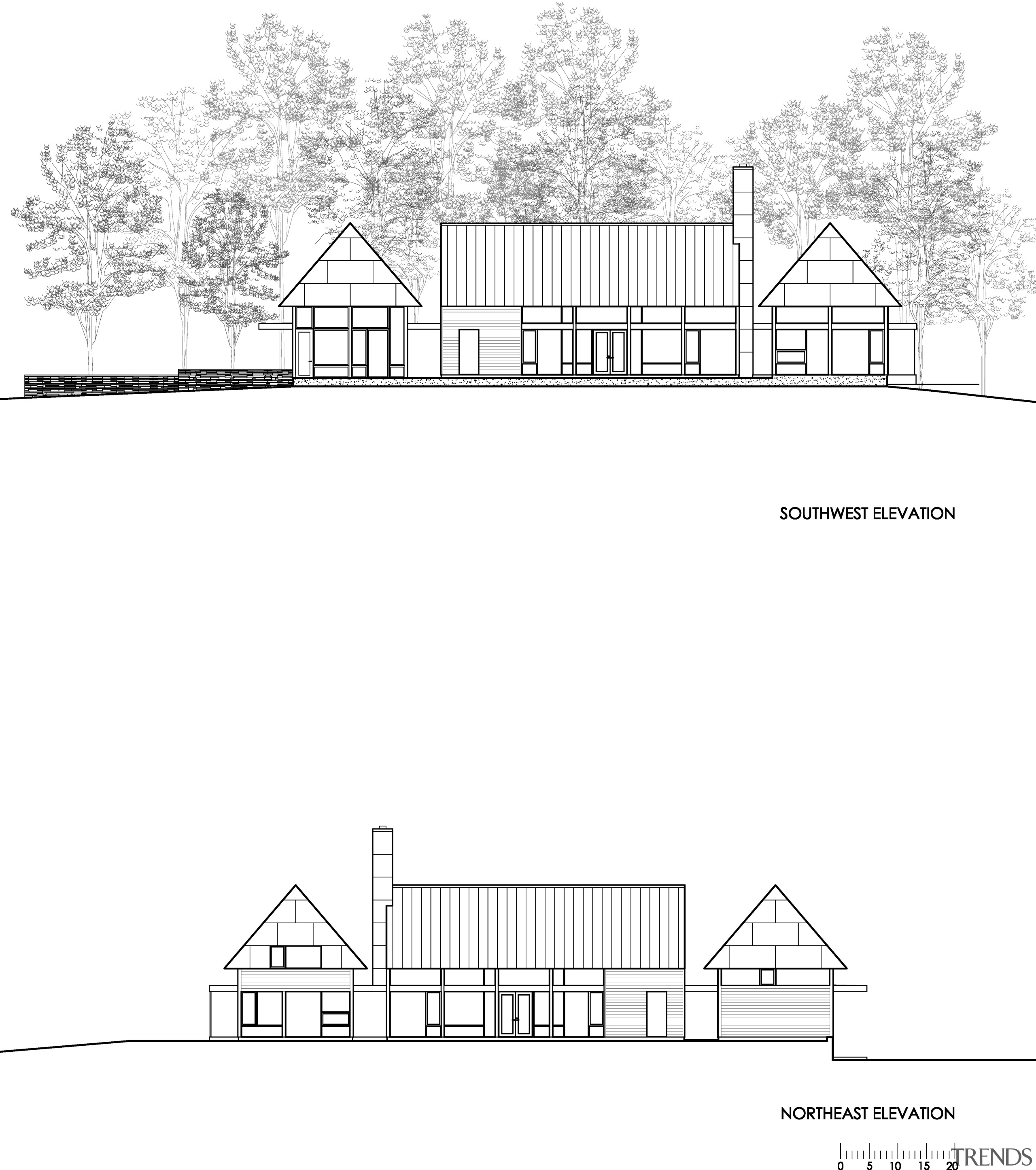Modern country home plan by Robert M Gurney angle, architecture, area, artwork, black and white, design, diagram, drawing, elevation, facade, floor plan, font, home, house, land lot, line, line art, monochrome, plan, product design, property, residential area, shed, structure, text, white