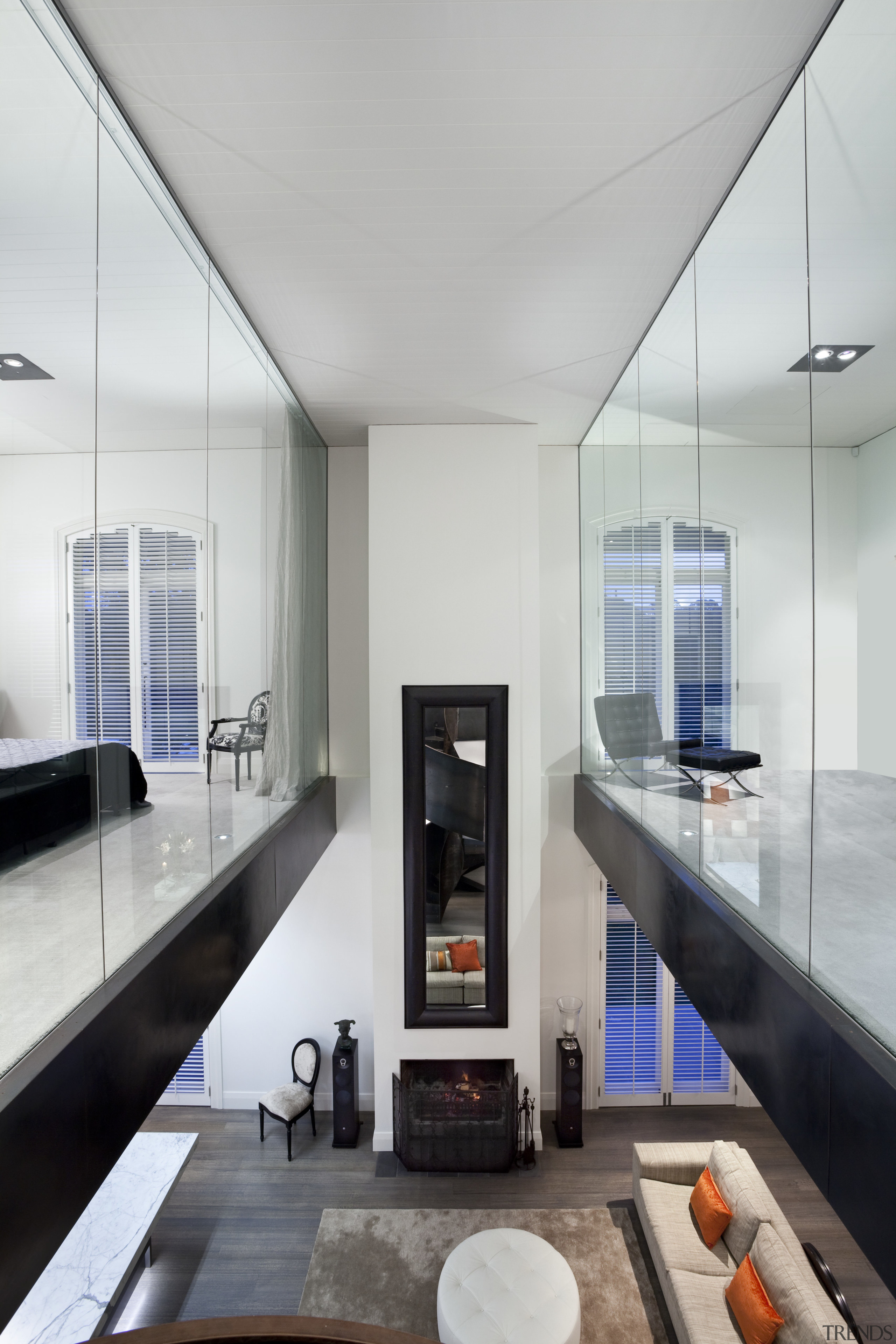 View of the upper levels of renovated home architecture, ceiling, daylighting, house, interior design, living room, gray