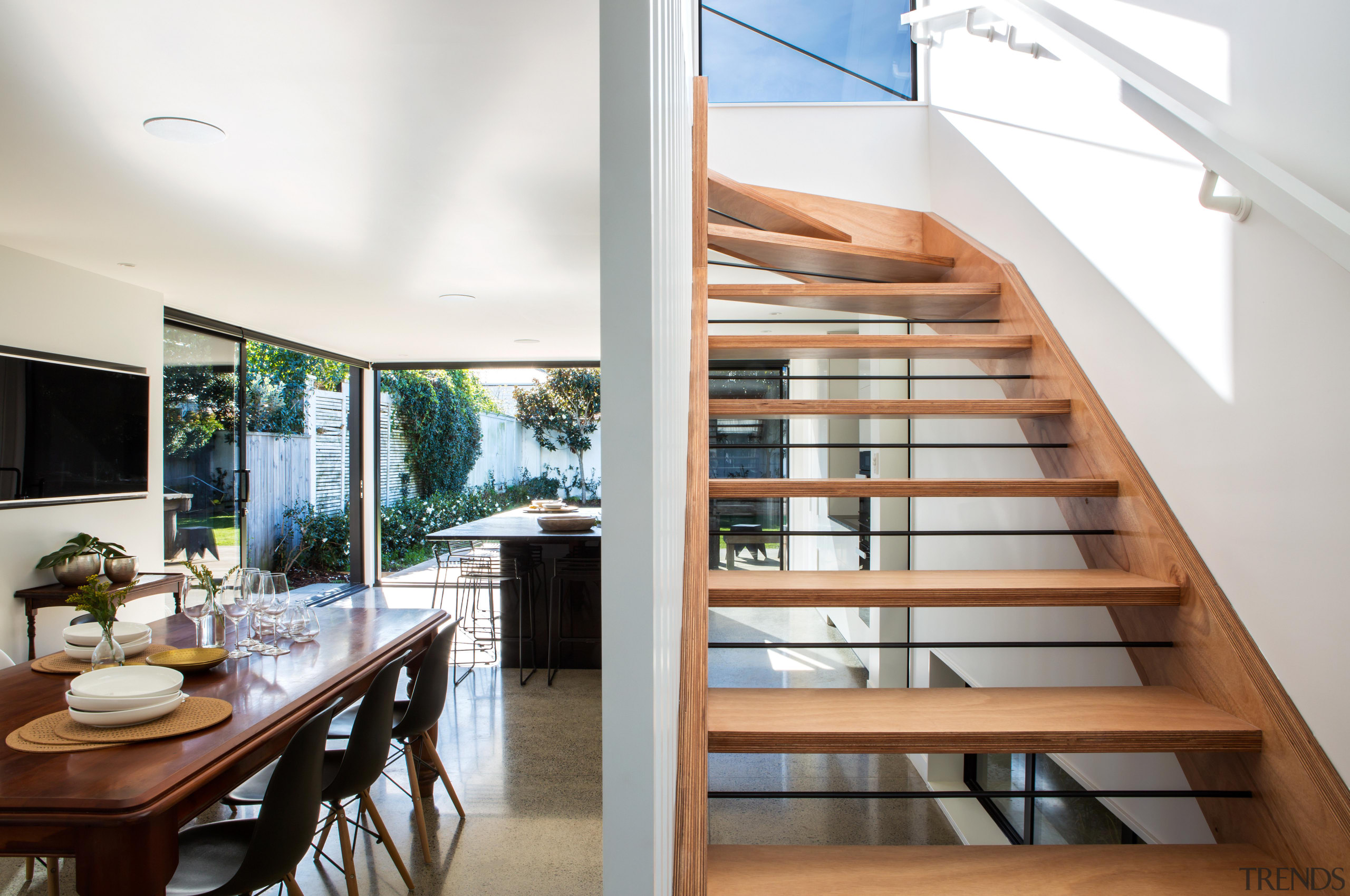 Let there be light  large corner sliders architecture, handrail, house, interior design, real estate, stairs, white